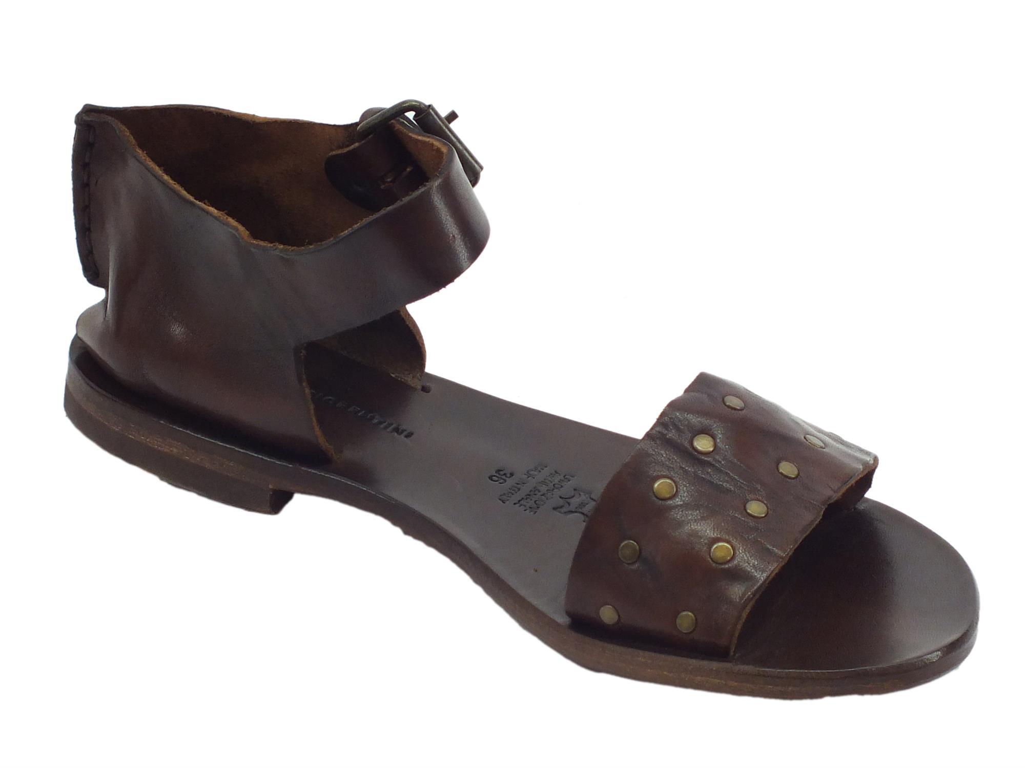 ... Sandali per donna Mercanti Fiorentini in pelle tuffata mogano  artigianali ... ce7b2516708