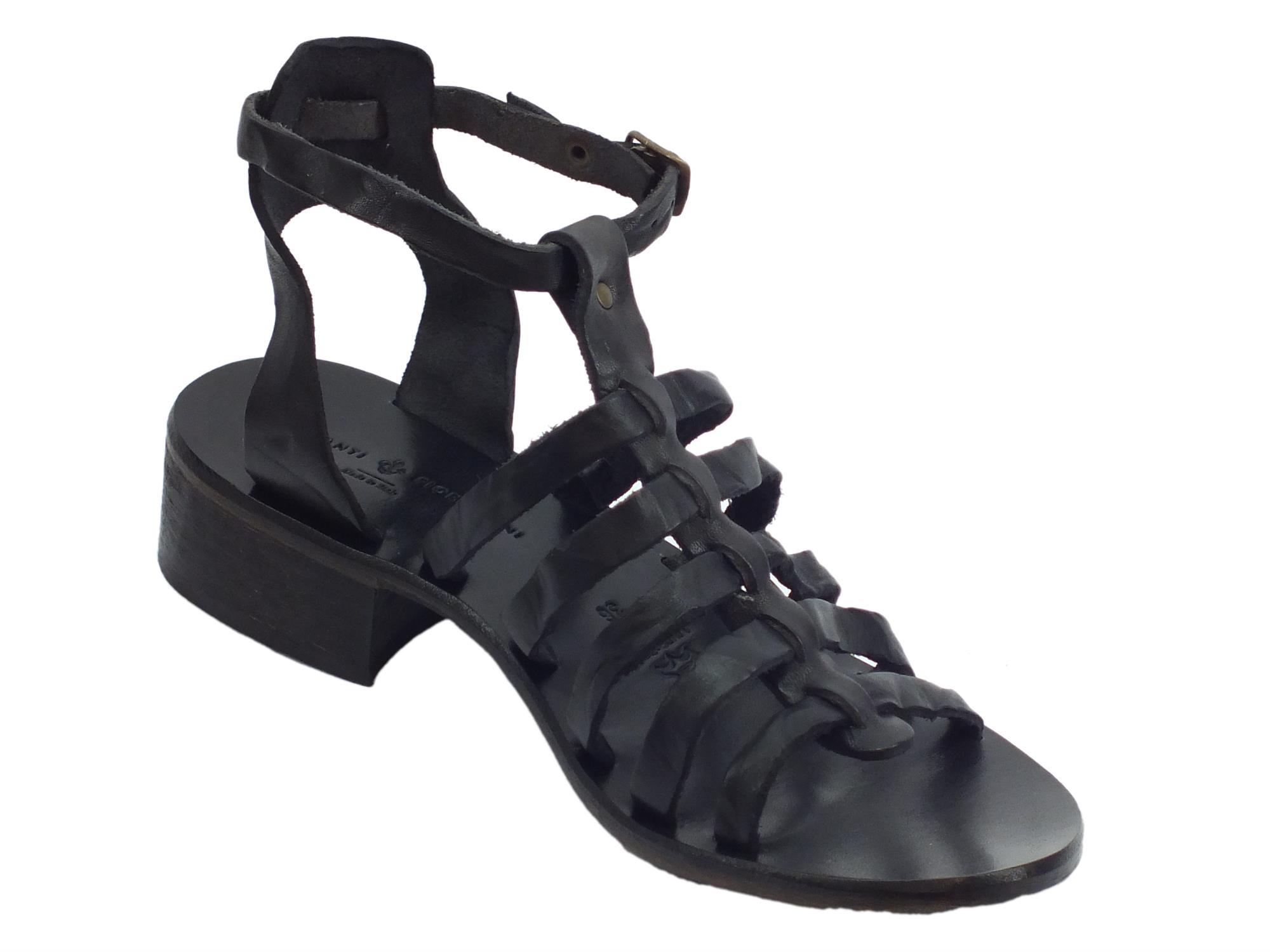 ... Sandali artigianali per donna Mercanti Fiorentini in pelle tuffata nera  fondo cuoio ... 36ab3707576