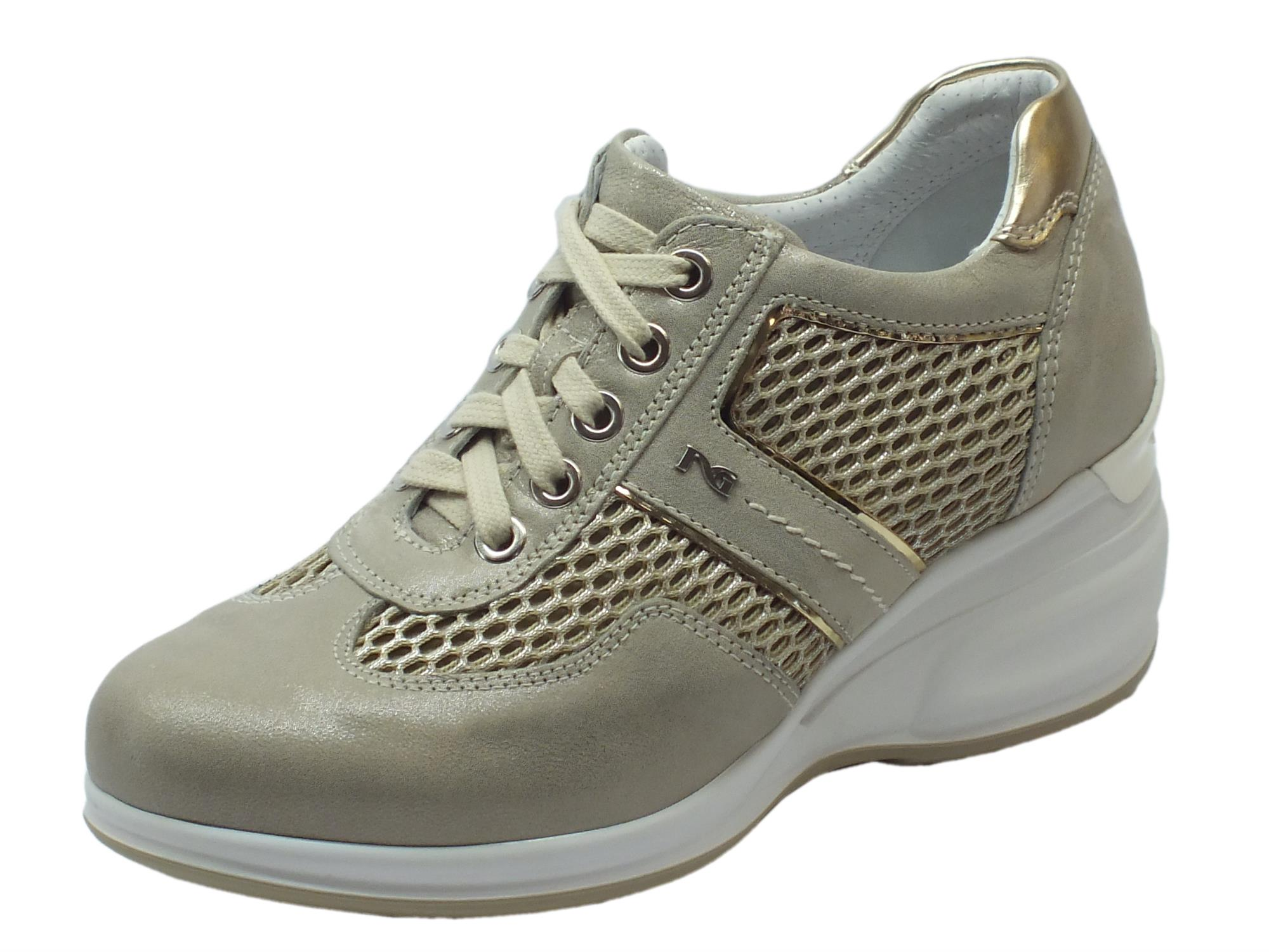 Sneakers NeroGiardini per donna in pelle e tessuto beige con zeppa alta 1f5f0d3fae6