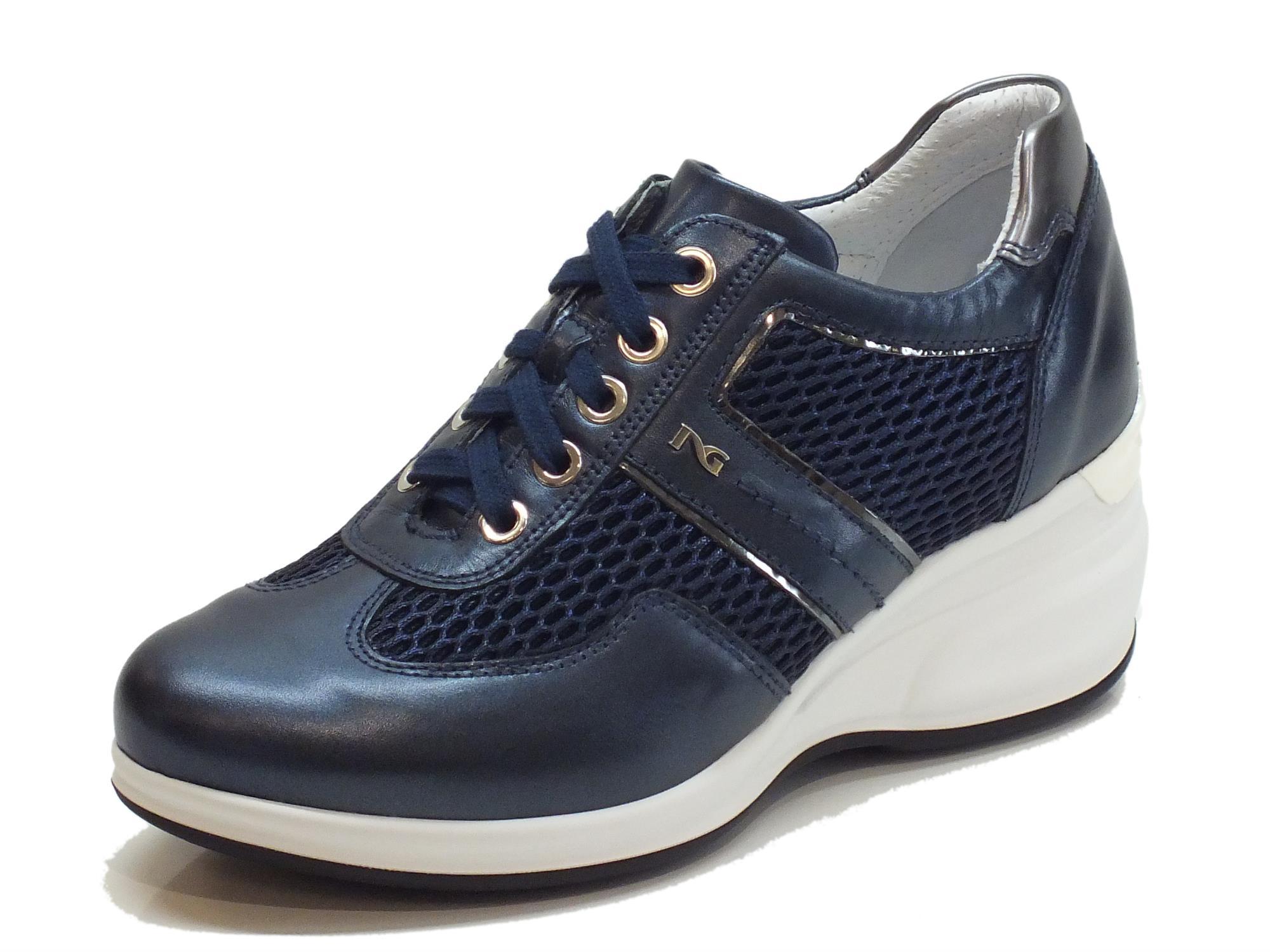 Sneakers NeroGiardini per donna in pelle e tessuto blu oceano zeppa alta