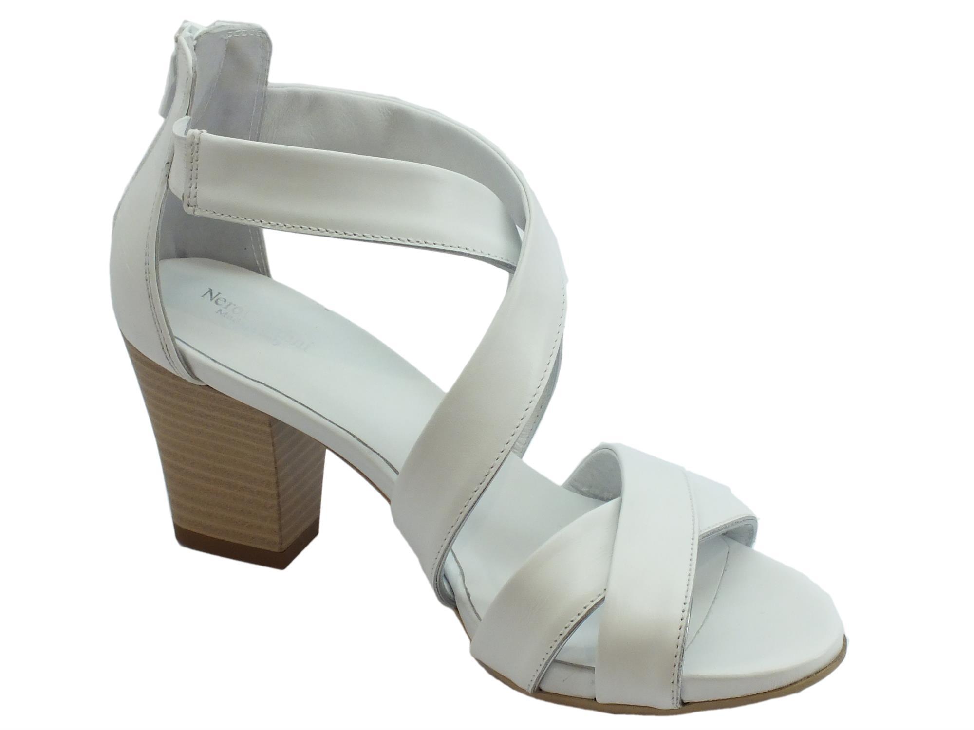 Sandali per Donna NeroGiardini in Pelle Colore Bianco Lampo Posteriore (Taglia 38) VEuGSFXW9I