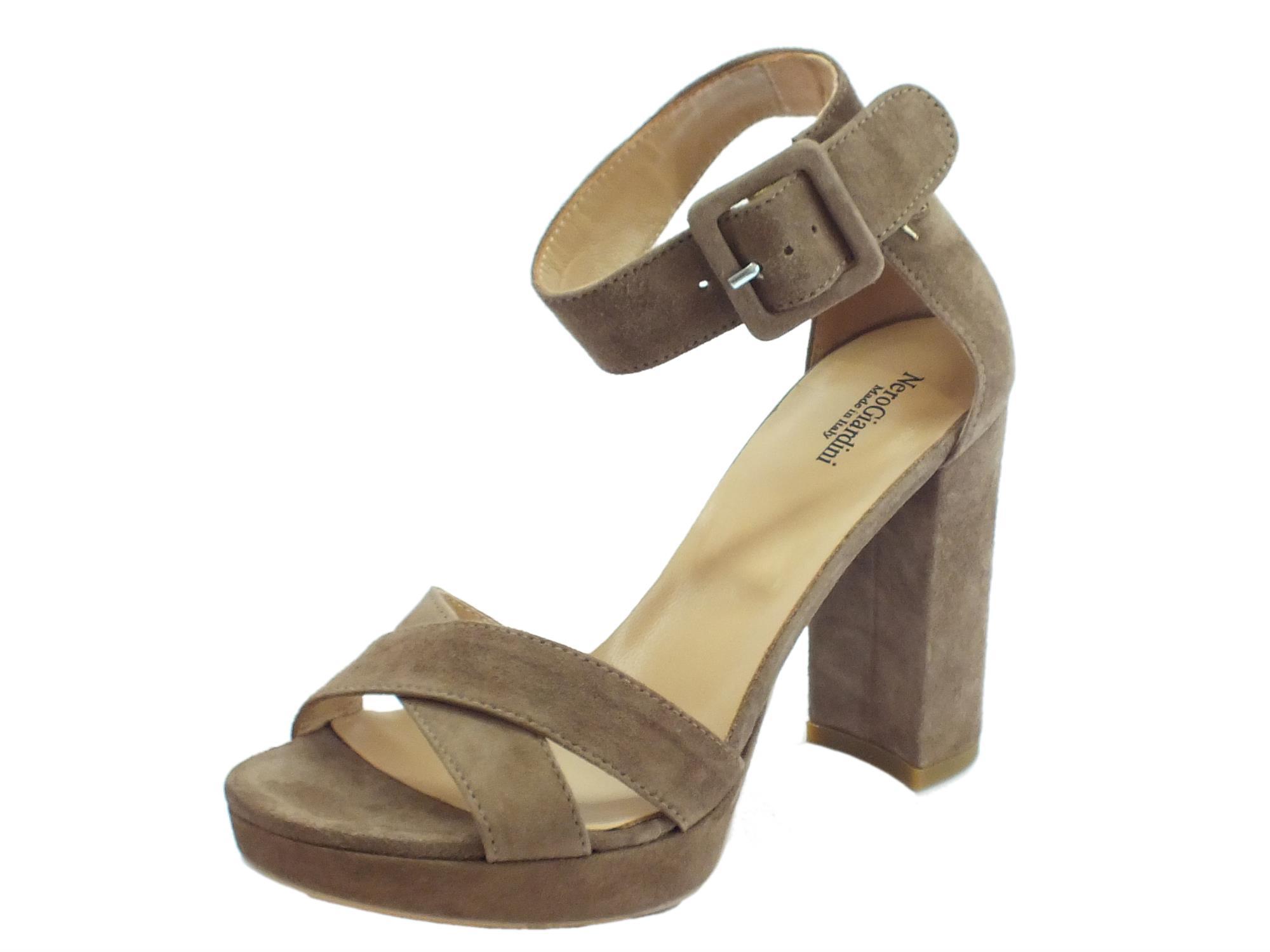 Sandali per donna NeroGiardini in camoscio colore talpa tacco alto e plateau 7006f9120b6