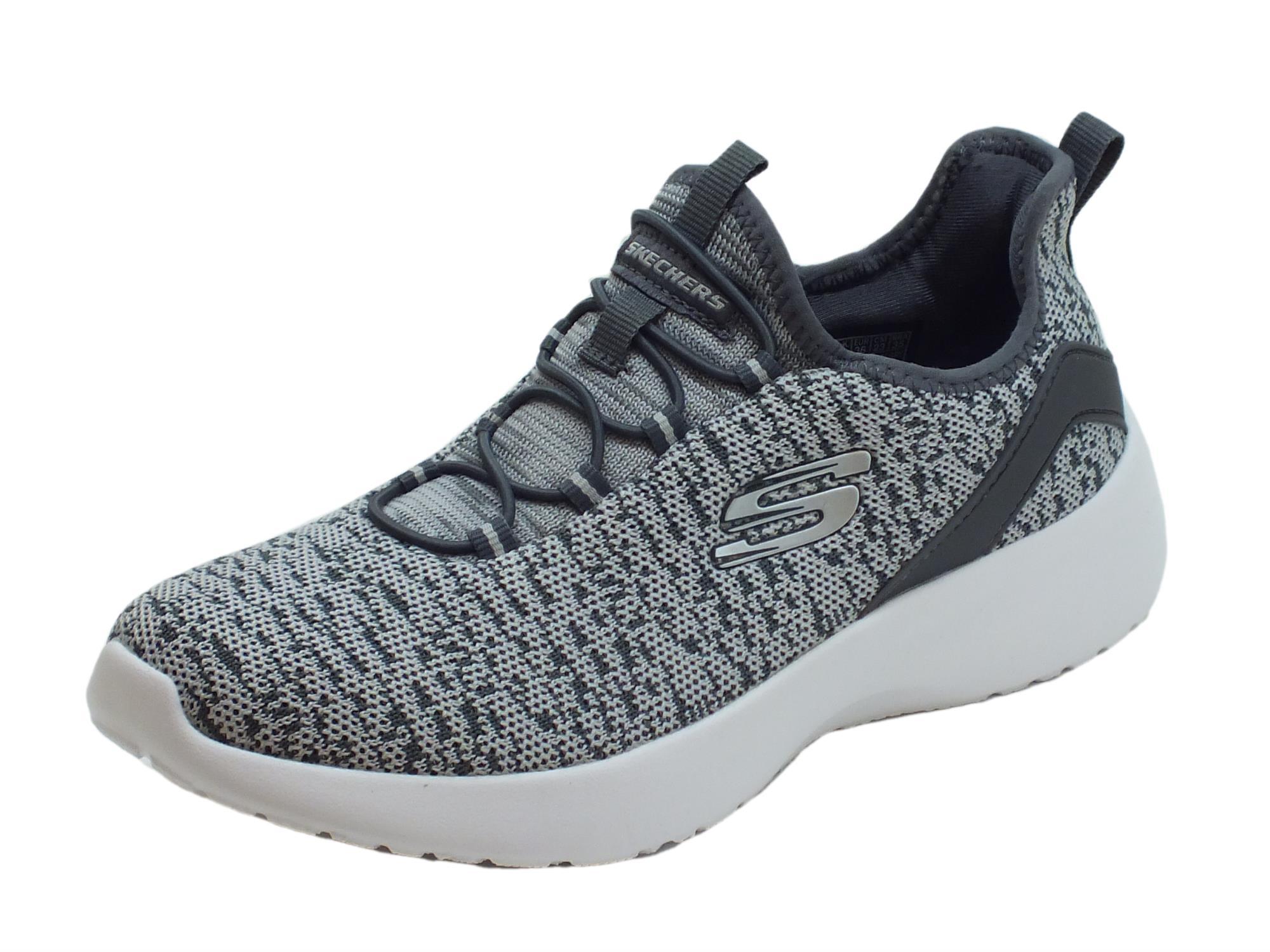 Slip On Sportive per donna Skechers in tessuto grigio chiaro e scuro