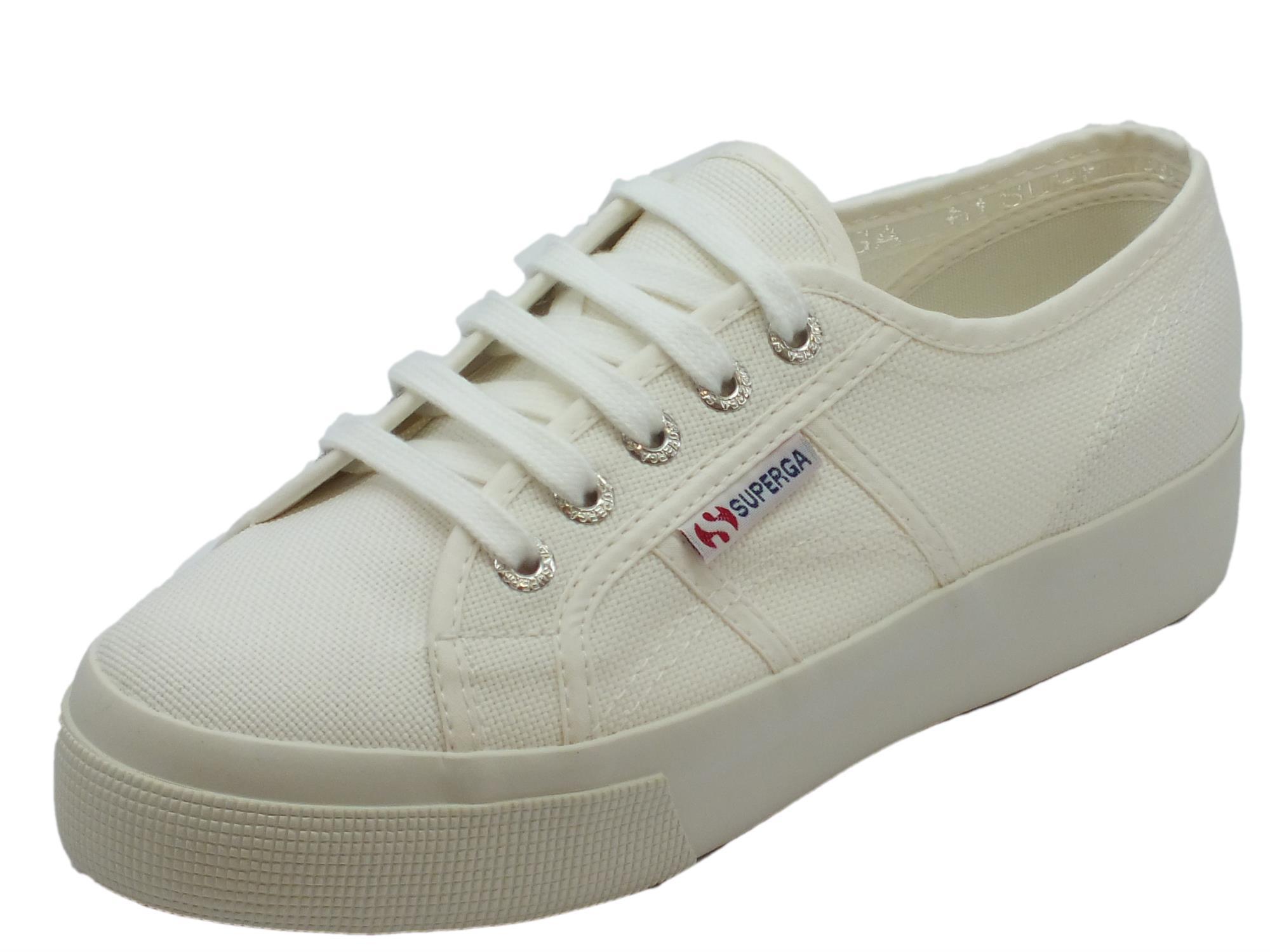 Scarpe sportive Superga donna tessuto bianco zeppa media - Vitiello ... 93c0c1245d8