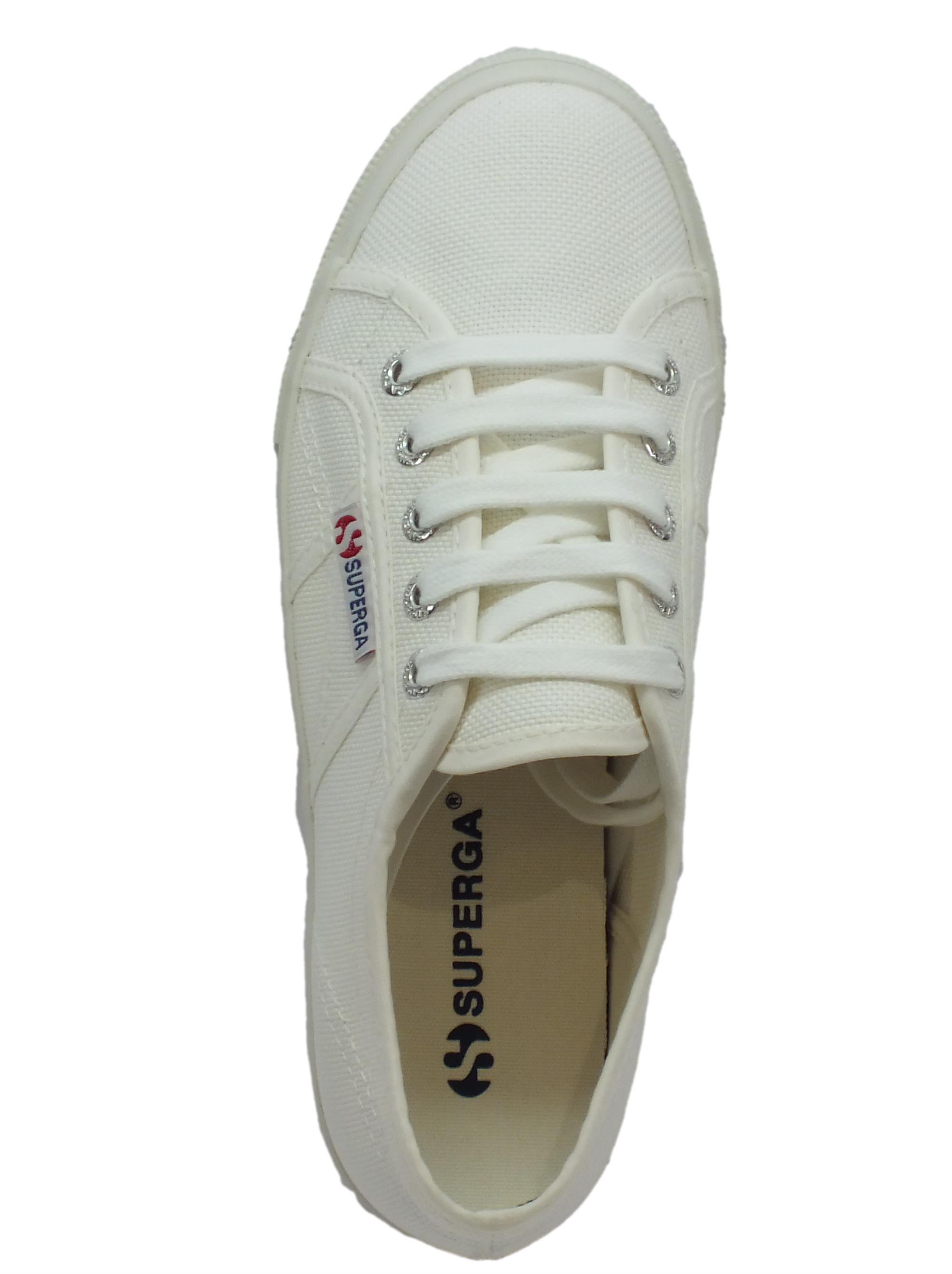 Scarpe sportive donna Superga donna sportive tessuto bianco zeppa media Vitiello   526be7