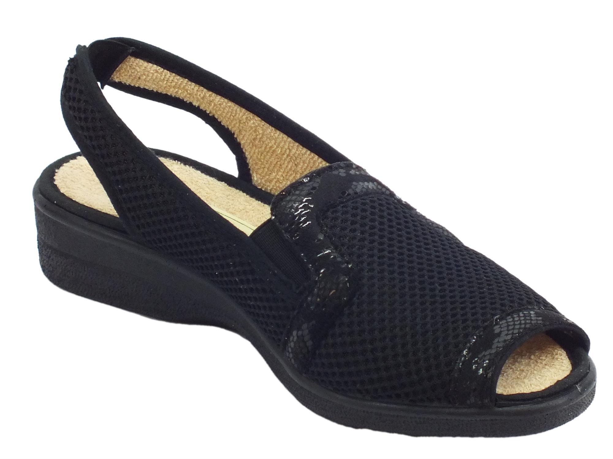 Sandali Susimoda donna tessuto nero zeppa bassa - Vitiello Calzature 12febd81976