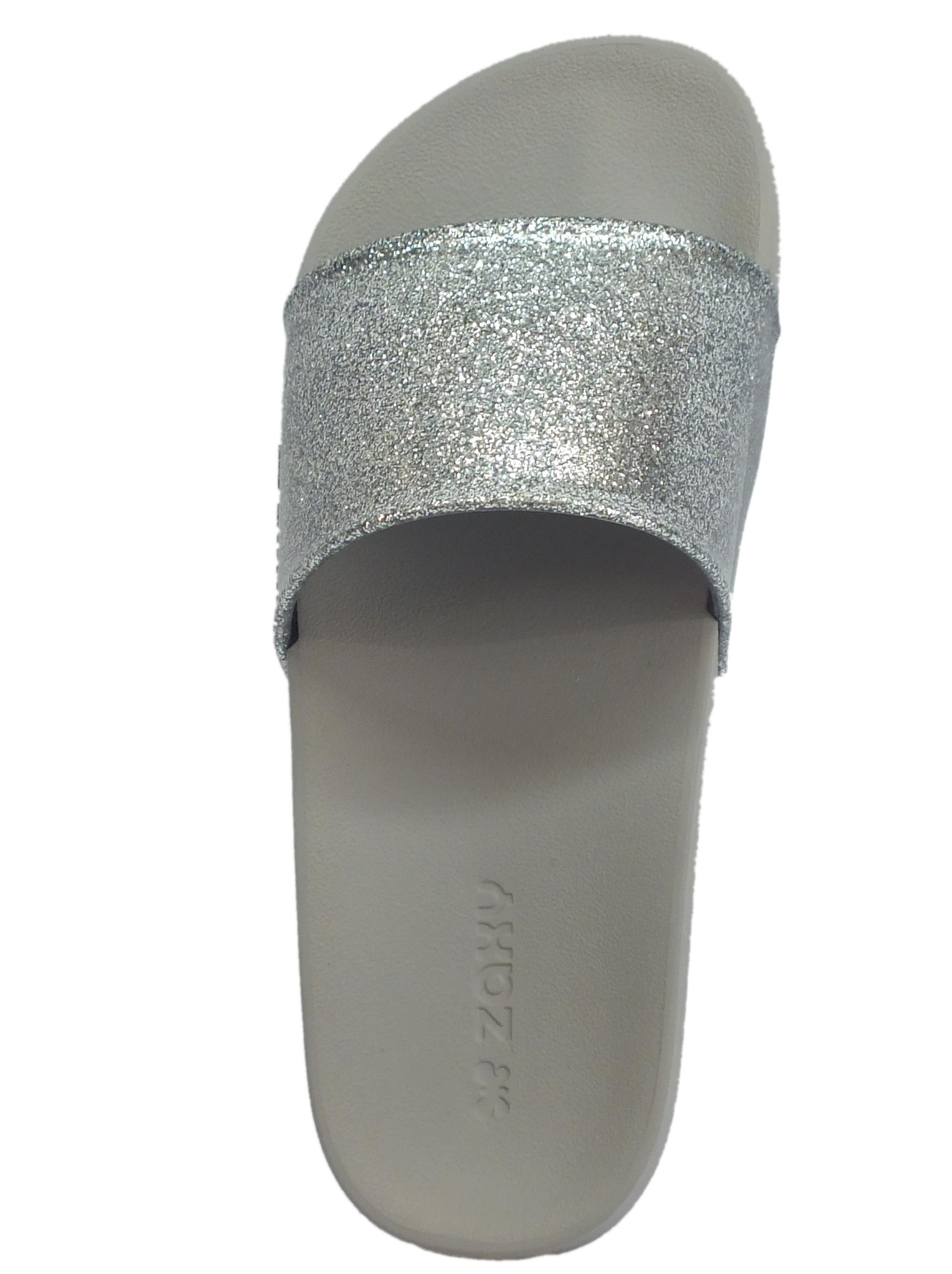 ... Ciabatte per donna Zaxy Snap Glitter Slide in gomma glitterata argento  e grigio c45fa3ebf75