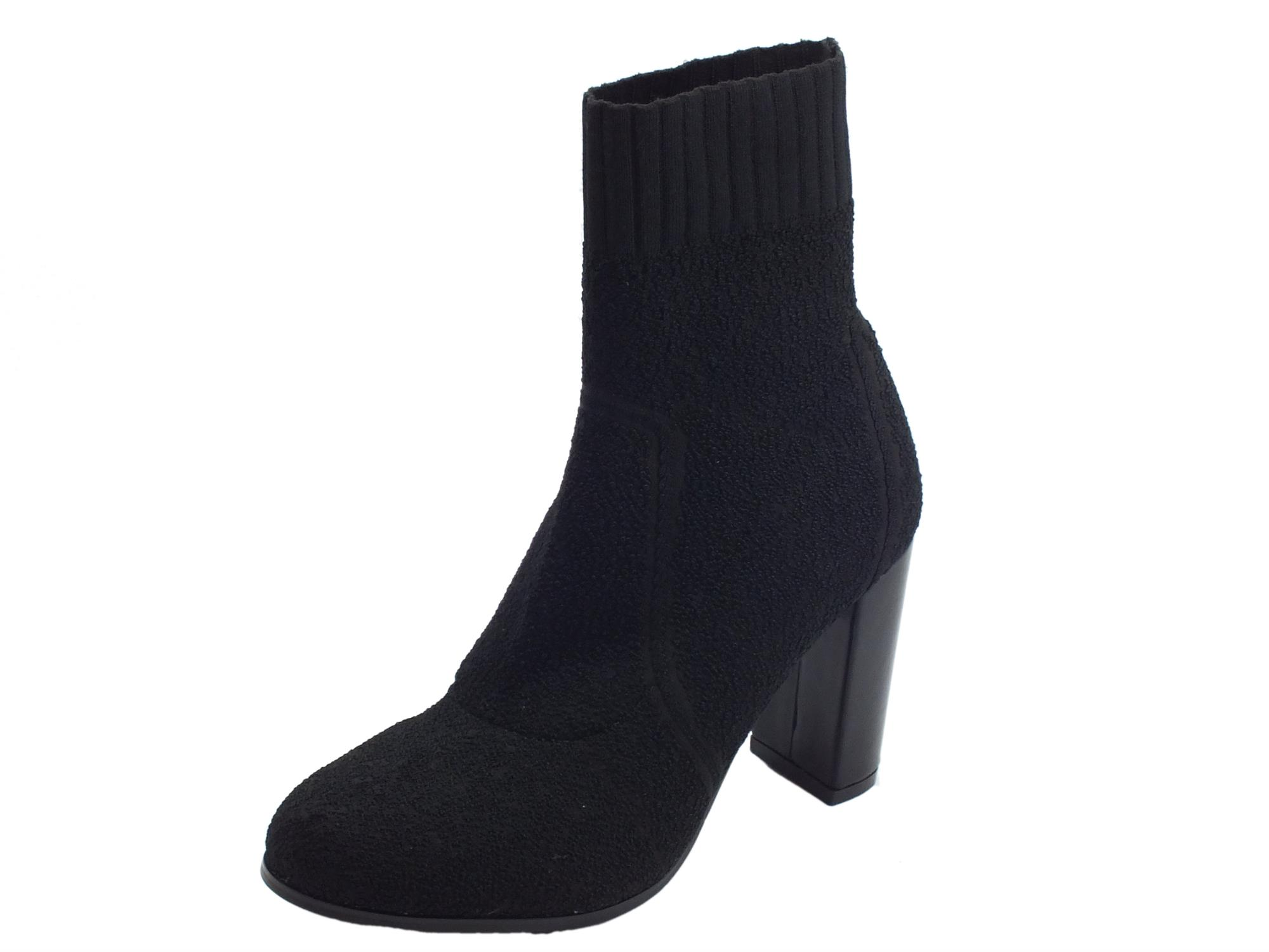 new photos c5975 4da2f Tronchetti per donna Cafè Noir in tessuto elasticizzato spugnoso nero tacco  alto