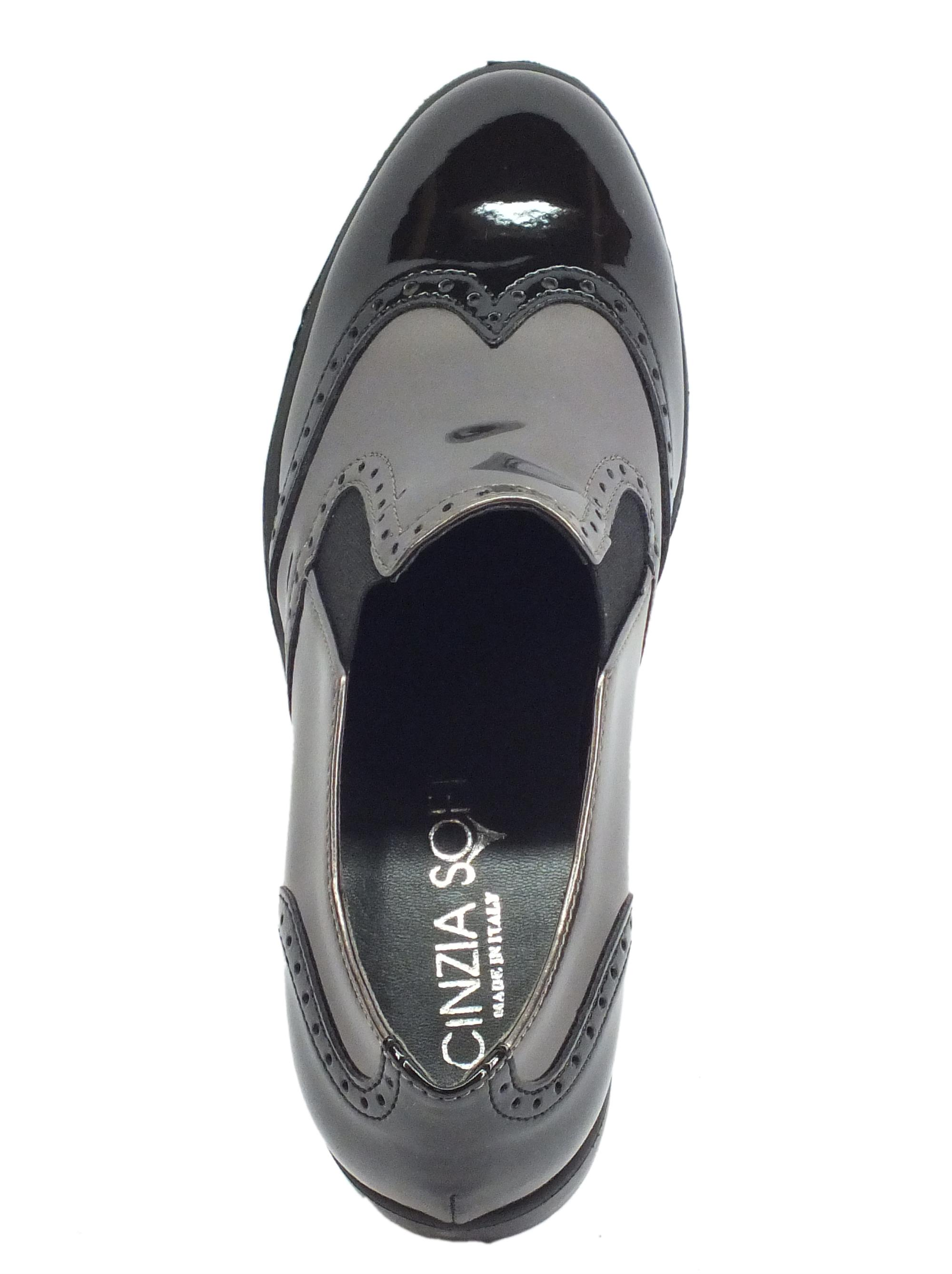 ... Cinzia Soft mocassini donna in vernice nero e peltro lavorazione duilio 69019337cc9