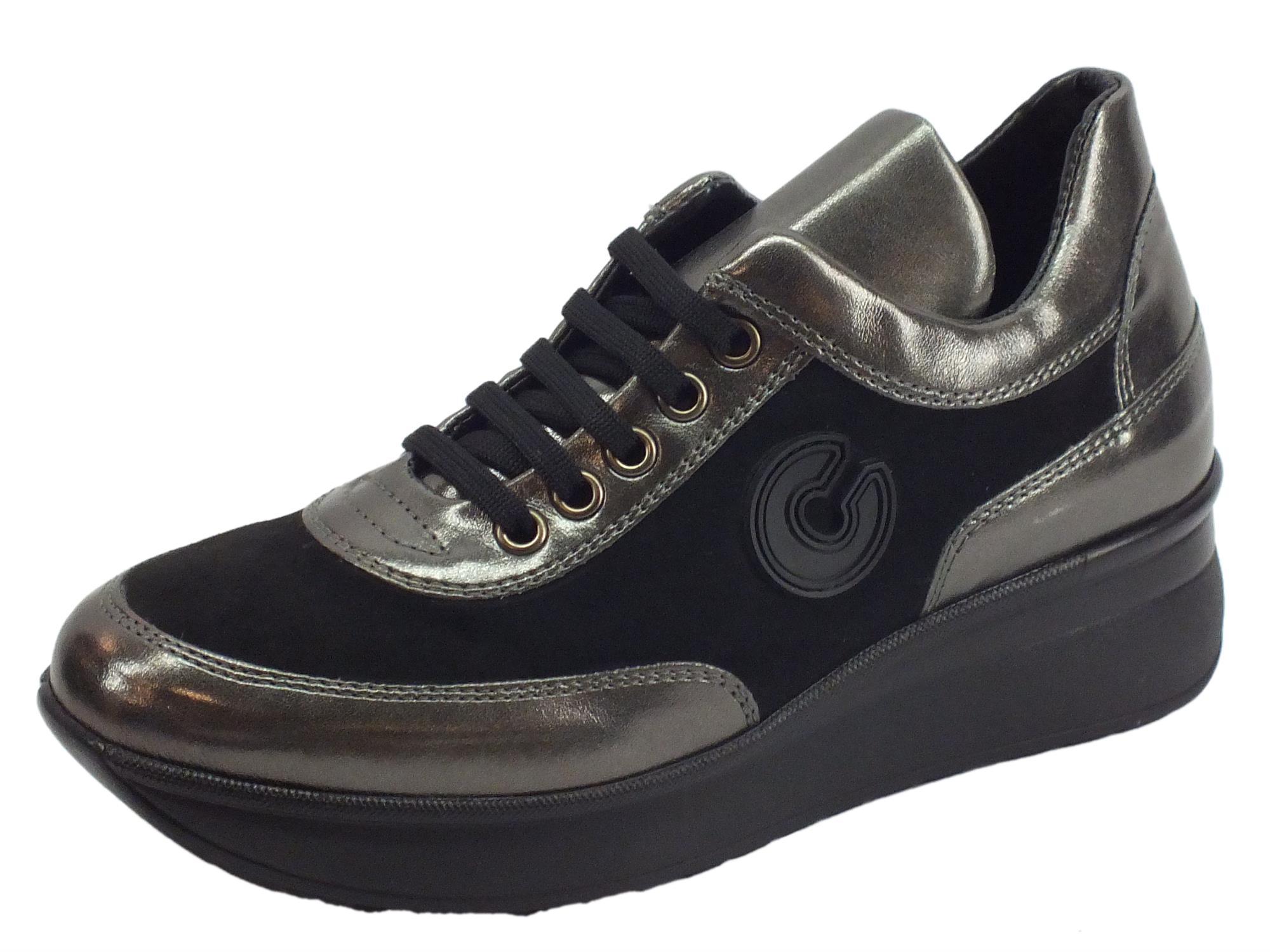 Sneakers Confort Cinzia Soft per donna in camoscio nero e pelle grigia d62ea1a50cc