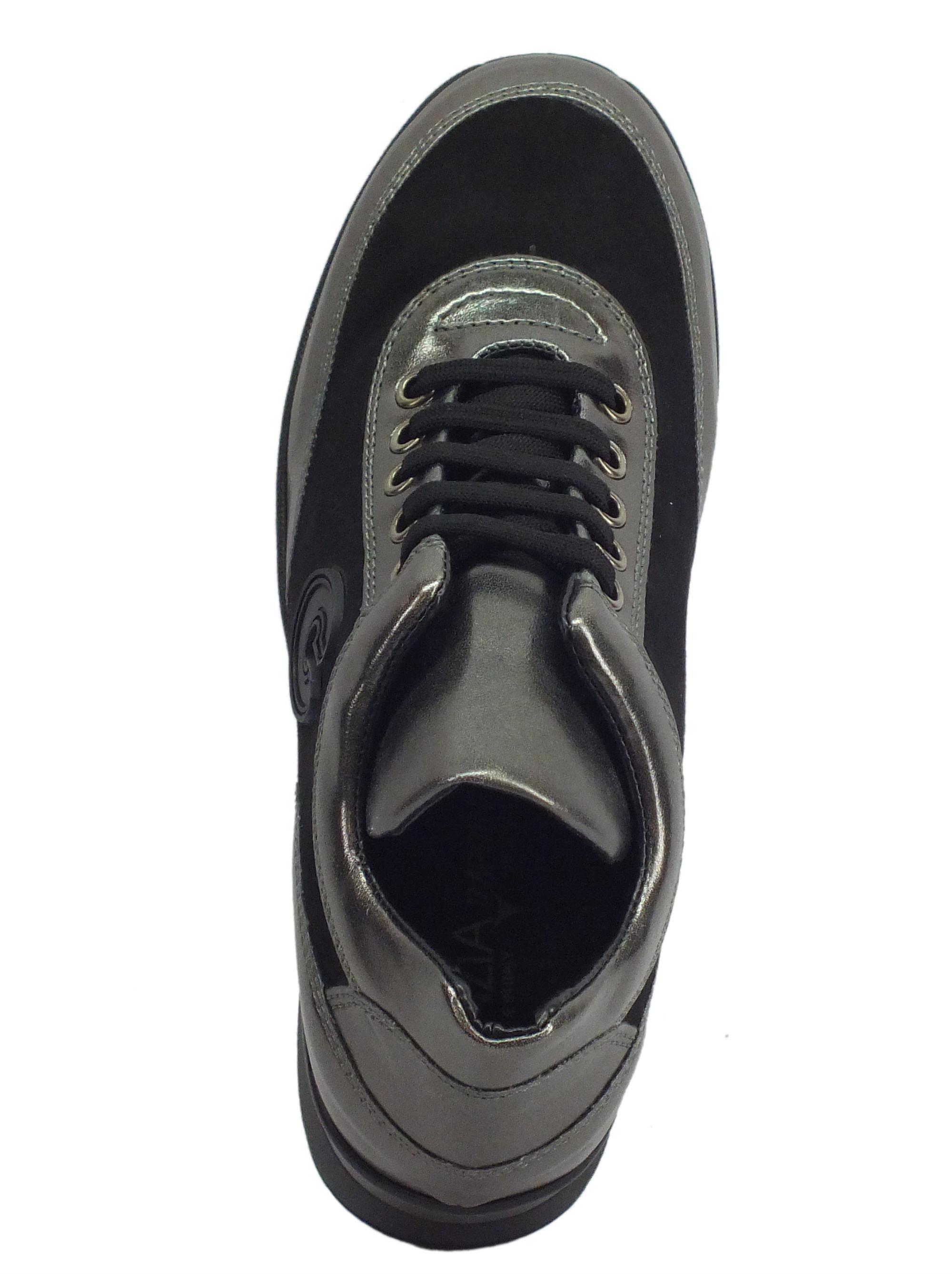 c7ef30257edc7 ... Sneakers Confort Cinzia Soft per donna in camoscio nero e pelle grigia