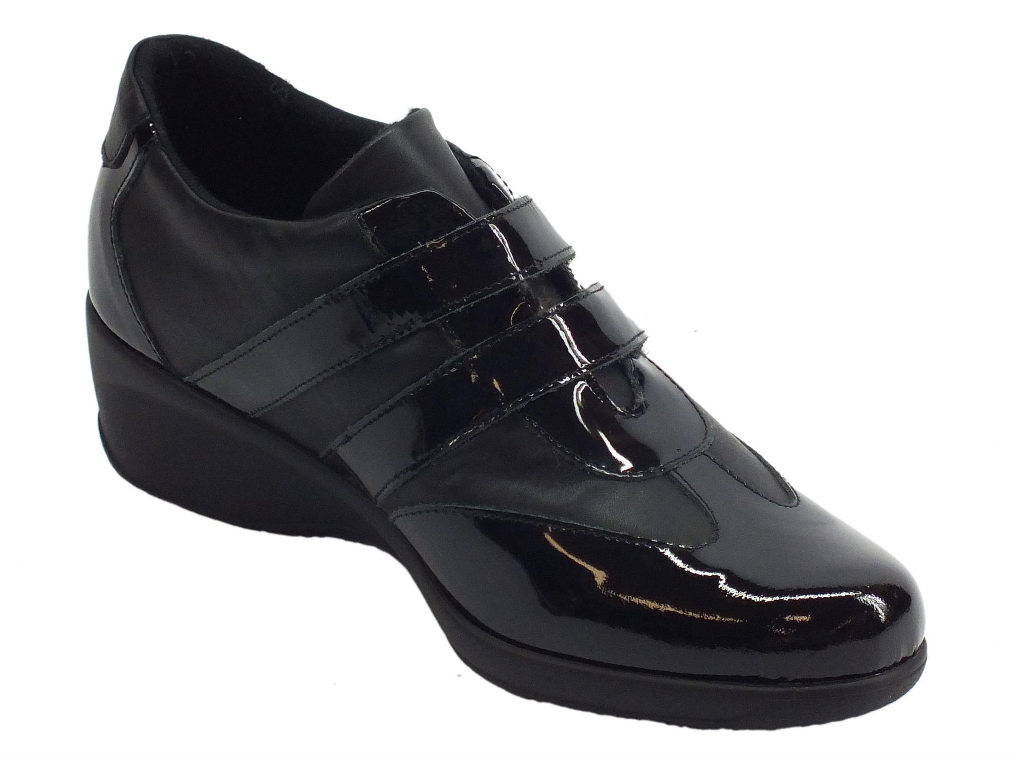 641e5539c02bd ... Sneakers Confort Cinzia Soft per donna in pelle e vernice nera ...