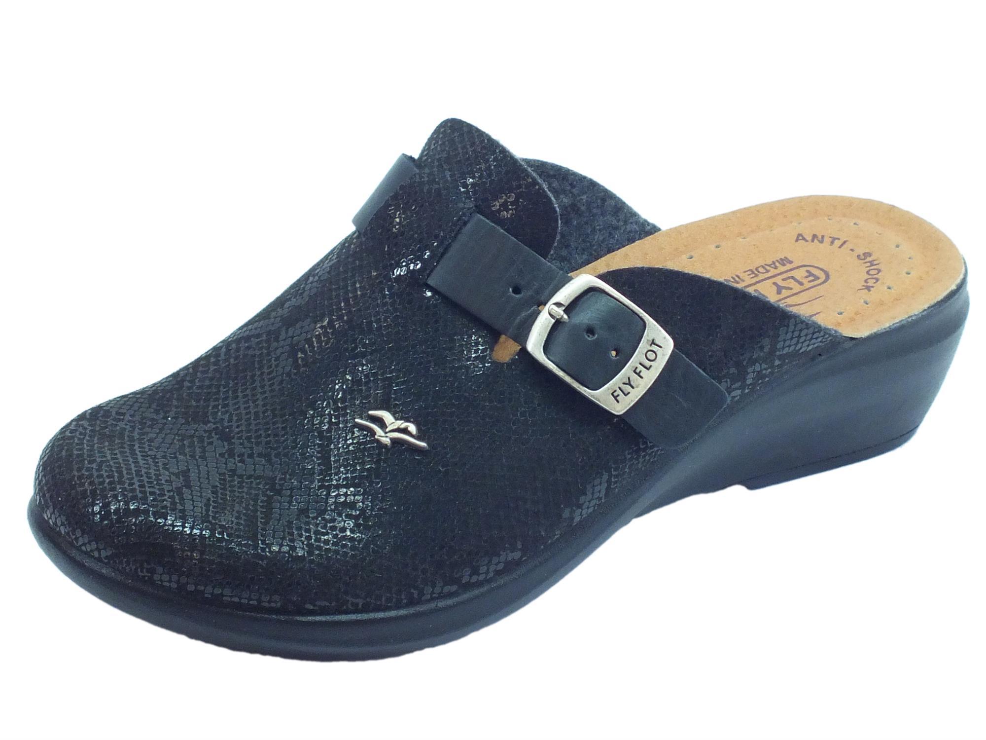 Pantofole FlyFlot per donna in ecopelle squamata nera regolazione tramite  fibietta 908b5b7fe77