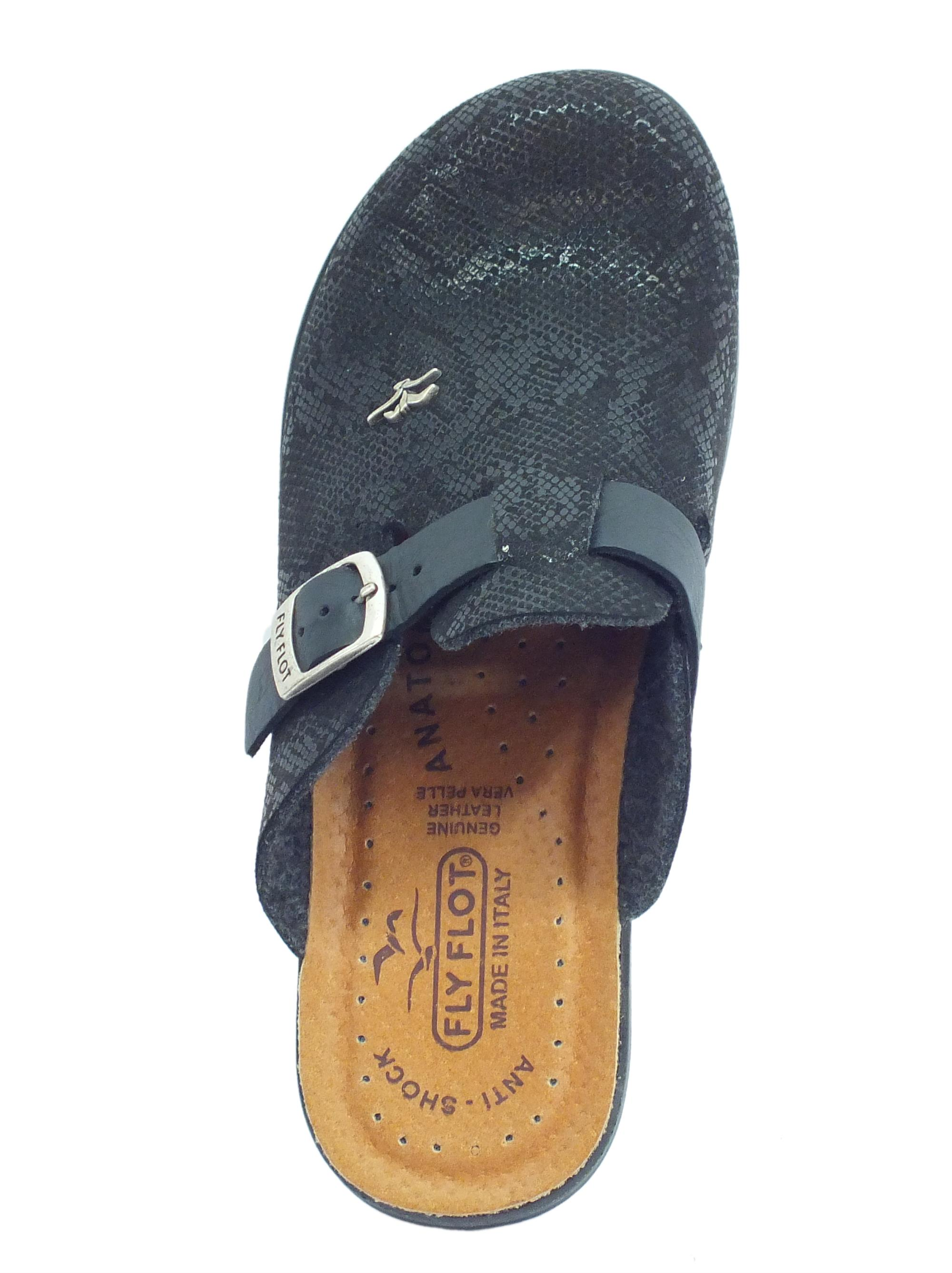 ... Pantofole FlyFlot per donna in ecopelle squamata nera regolazione  tramite fibietta cbabebfcb88