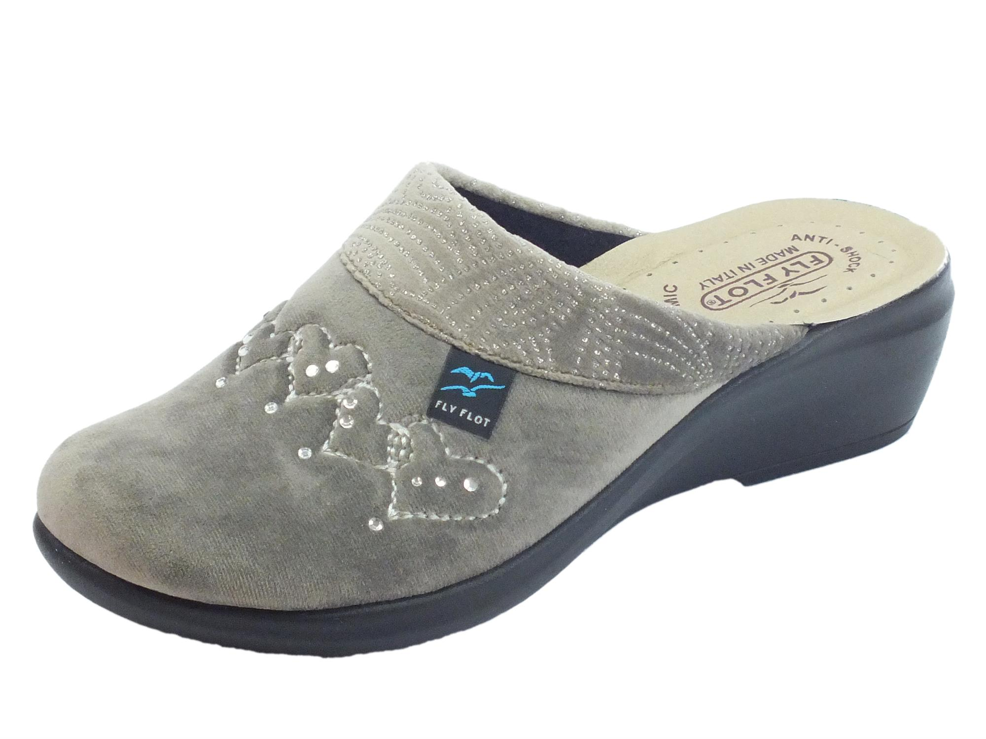 Pantofole FlyFlot per donna in tessuto pile rovere sottopiede anti-shock  zeppa alta c20bc34a301
