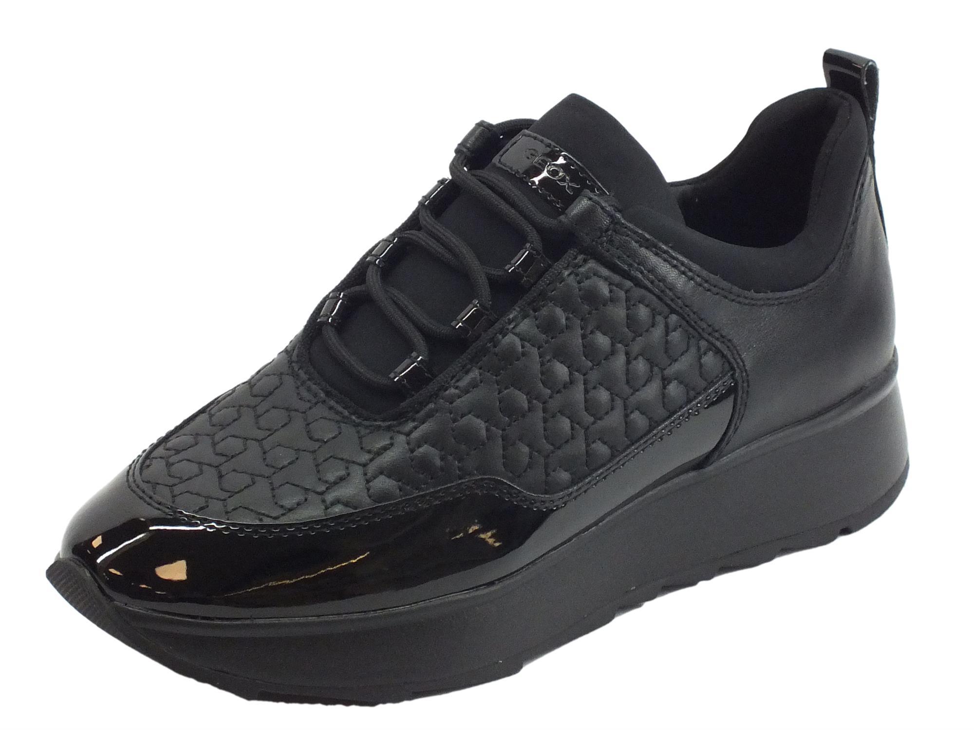 Sneakers Geox Gendry per donna in pelle e sintetico nero zeppa bassa ce9300f29b4