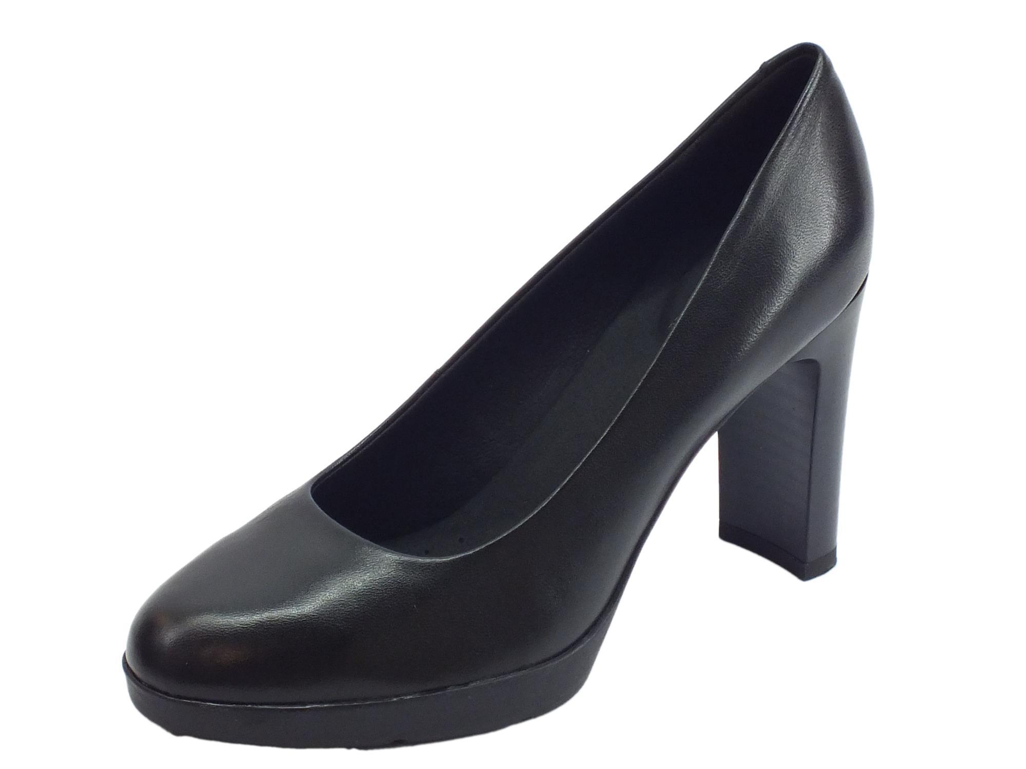 Decoltè Geox Annya donna pelle nera tacco alto - Vitiello Calzature acdef554e8a