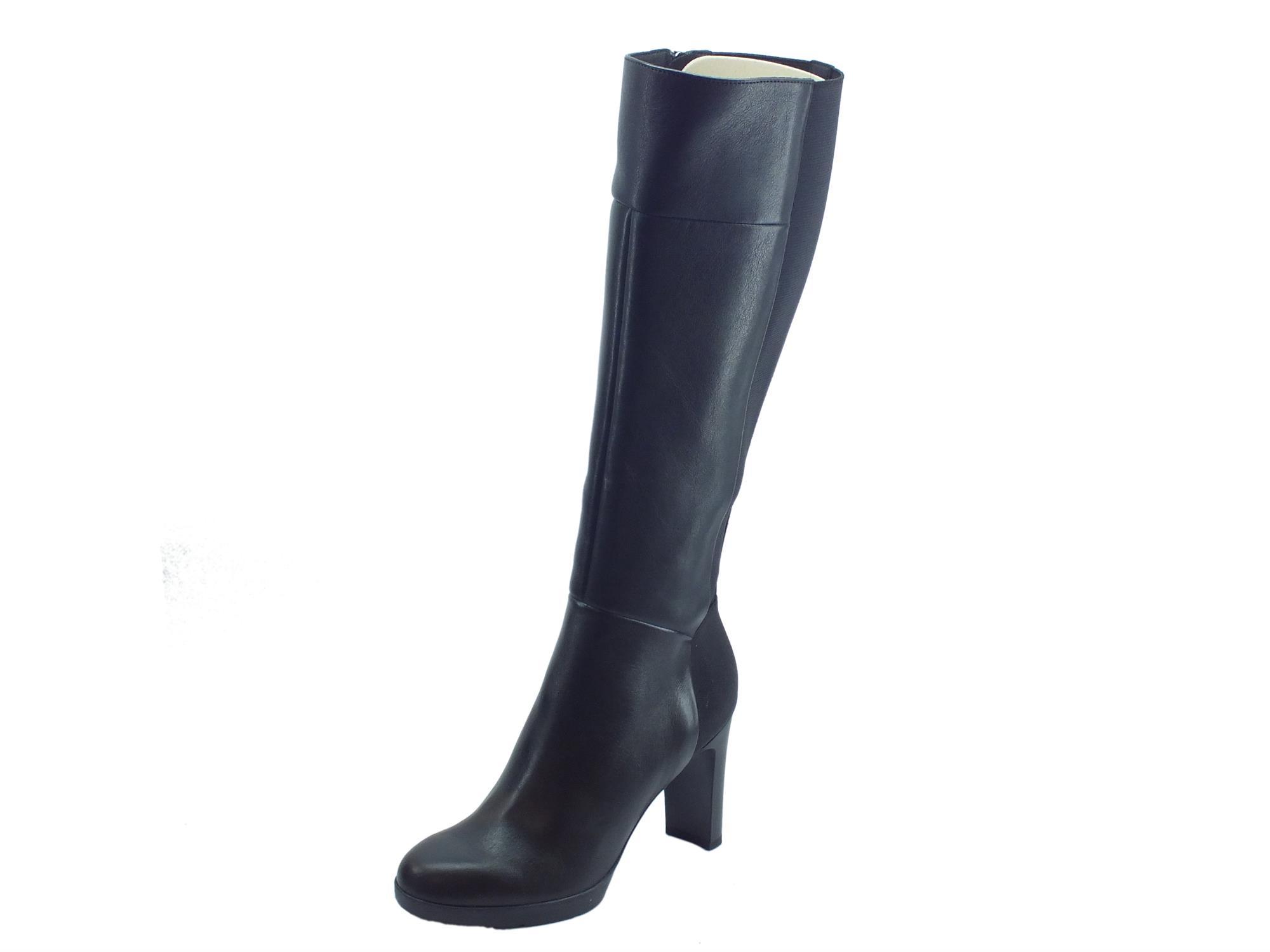 sito affidabile e66fe 7742a Stivali Geox Annya per donna in pelle e tessuto elasticizzato nero tacco  alto