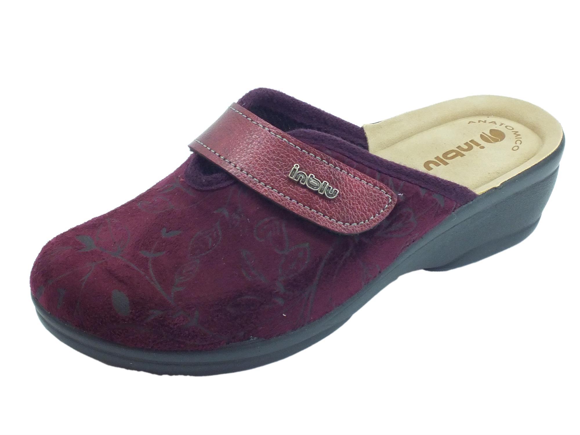 Pantofole InBlu per donna in tessuto Prugna con regolazione a strappo d1732d6fc1c