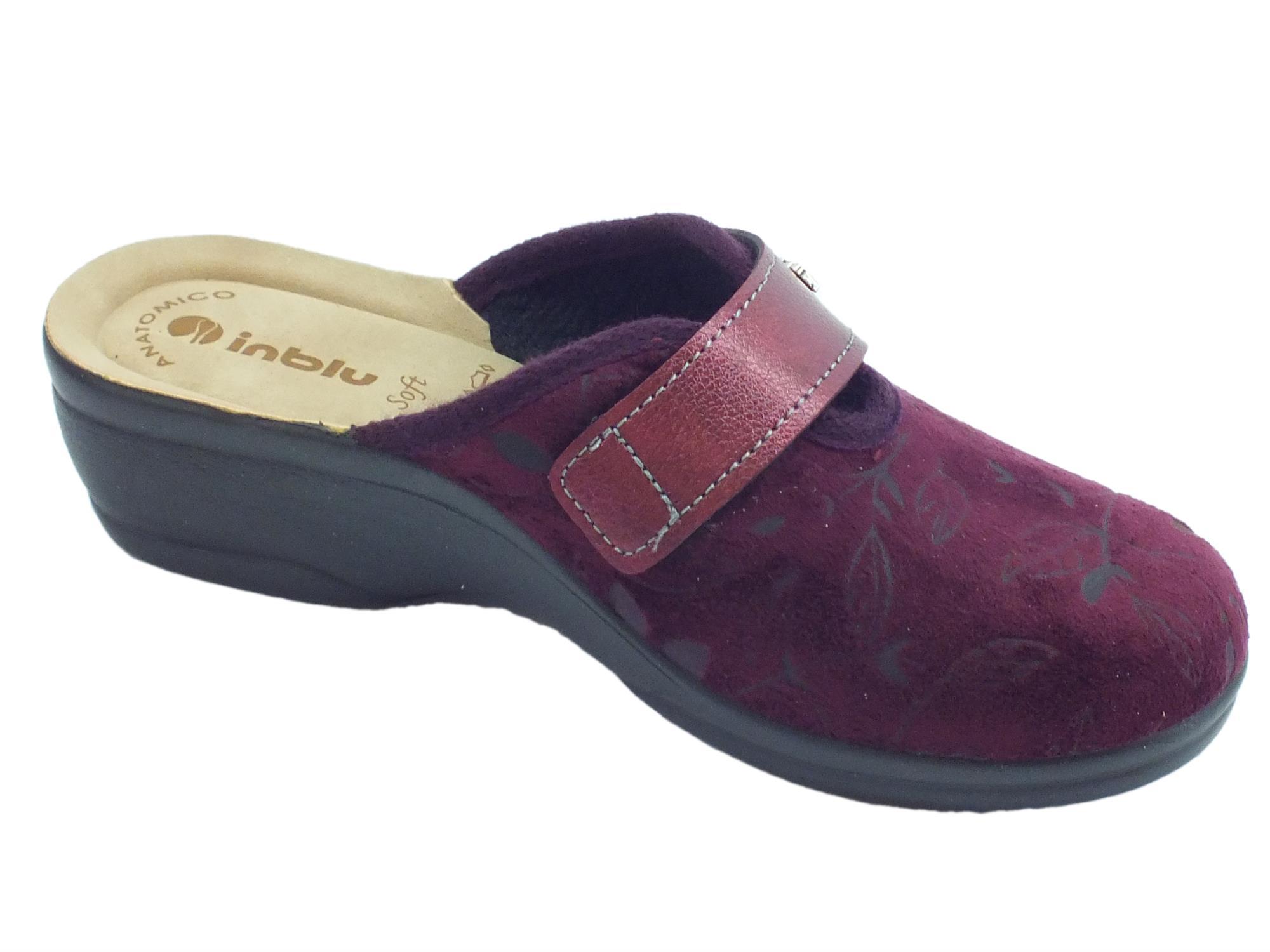 ... Pantofole InBlu per donna in tessuto Prugna con regolazione a strappo  ... 3c73151be64