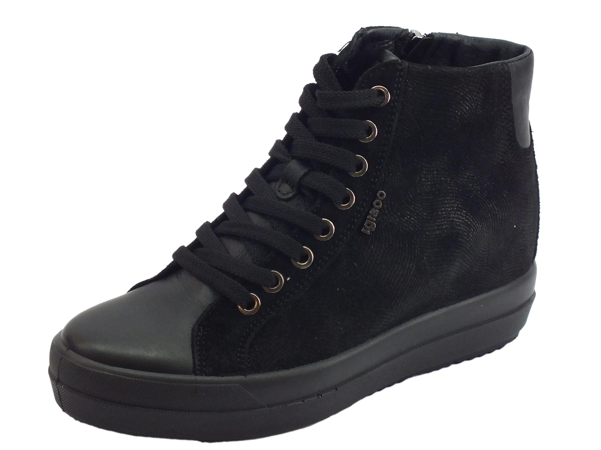 Sneakers Igi Co per donna in scamosciato nero zeppa interna media aefea6b9123