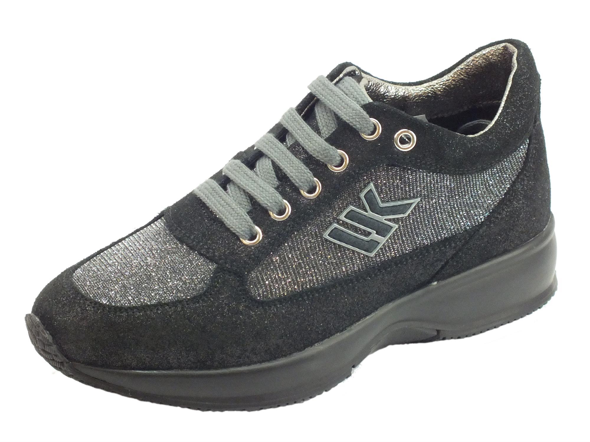Sneakers Lumberjack Raul per donna in scamosciato grigio scuro e tessuto  chiaro brillantinoso 0177c1c67b8
