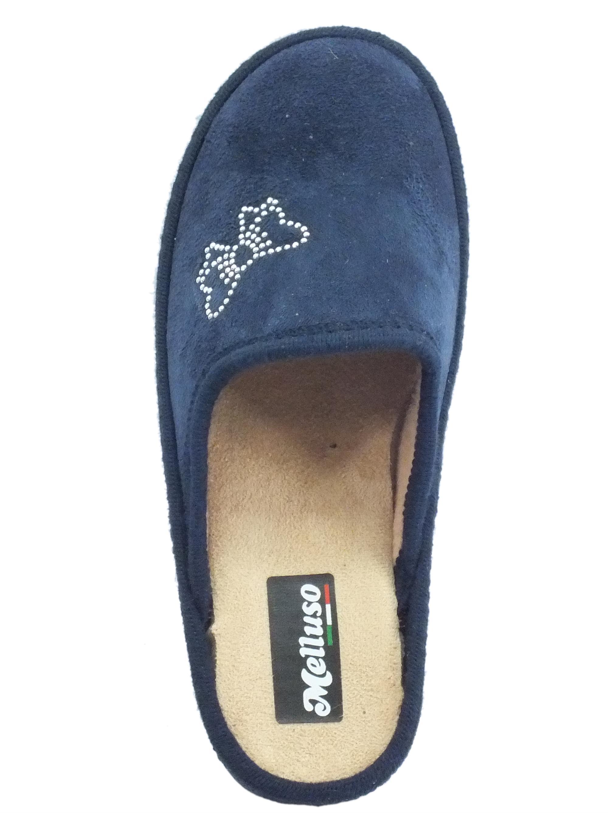 Pantofole Melluso donna tessuto blu beige - Vitiello Calzature 6b571e7d4db