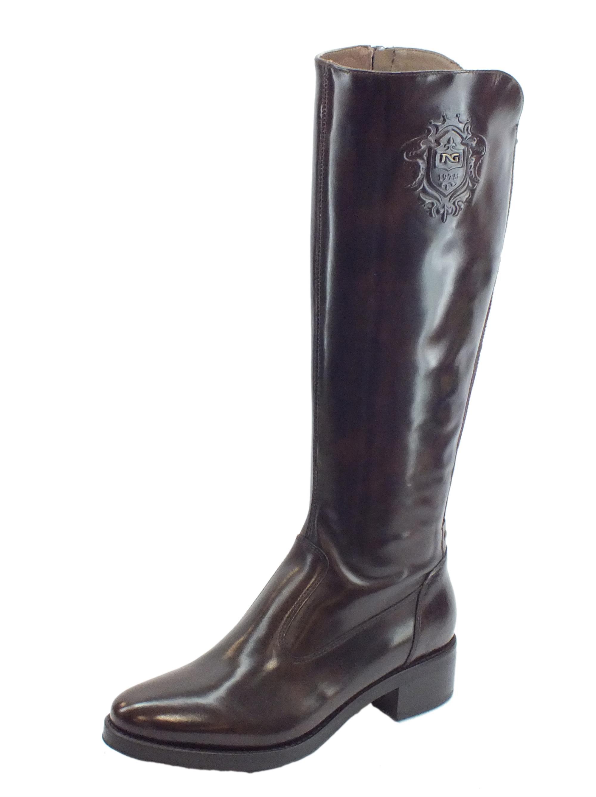 new arrival ef3d1 1f8e1 Stivali NeroGiardini per donna Manolete Testa di Moro con tacco medio