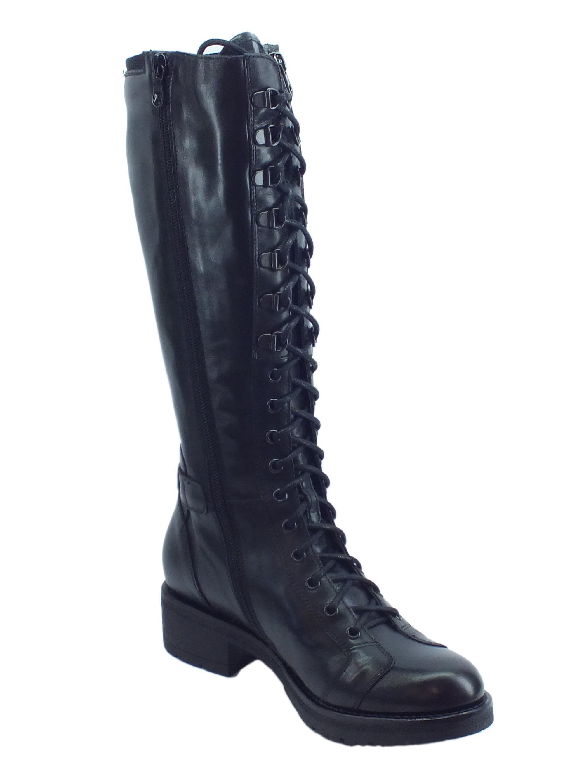 ... Stivali NeroGiardini per donna modello Dallas in pelle nera con lacci e  lampo ... 49c141bd543