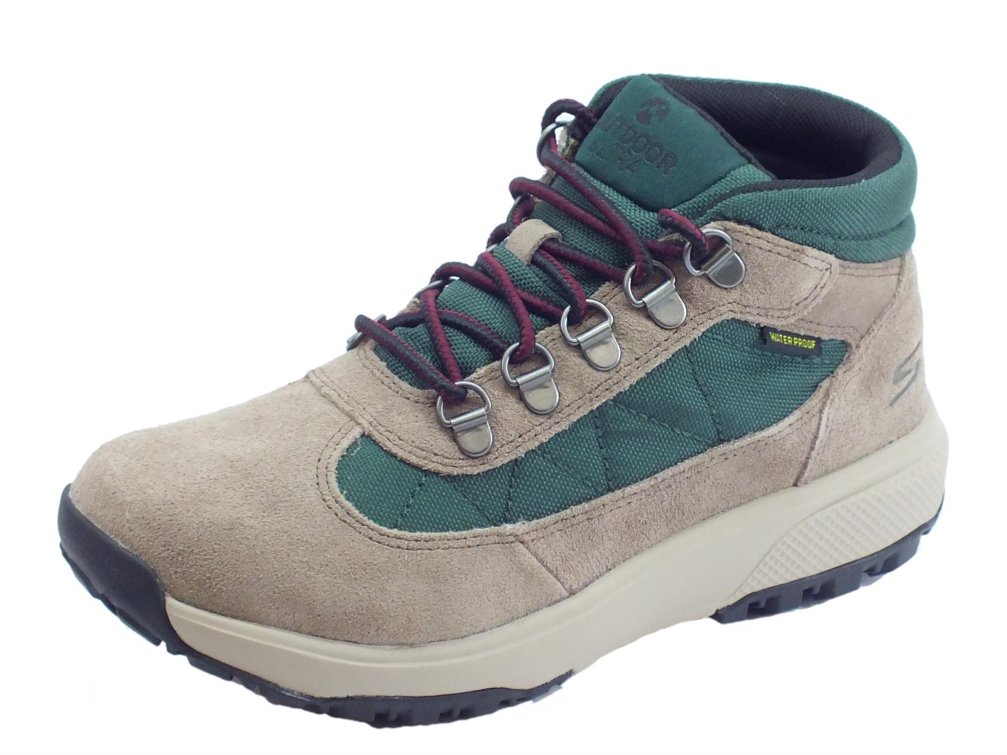 Scarpe Trekking Waterproof Skechers per donna in camoscio taupe e tessuto  tecnico verde d4f2b5b7eb8