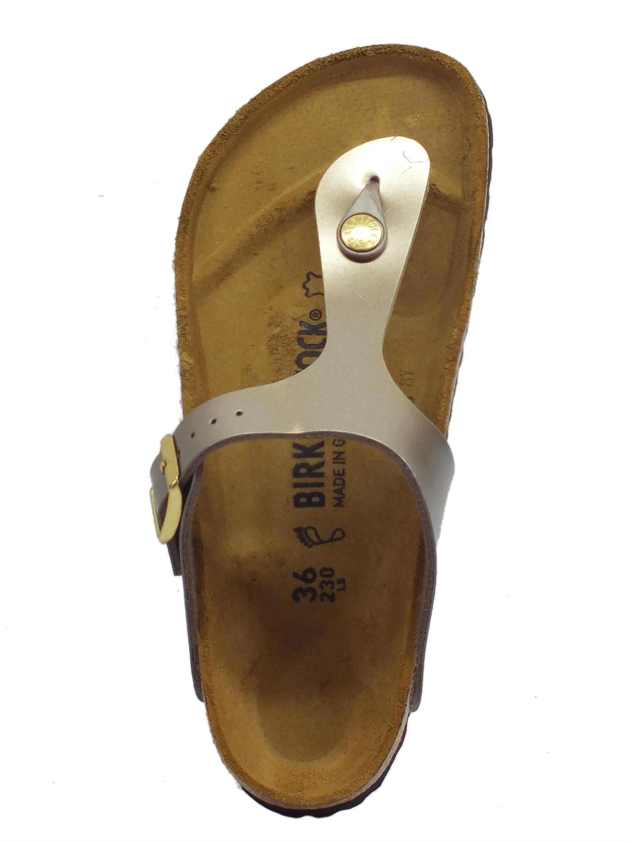 ... Infradito Birkenstock Gizeh BS per donna in gomma e pelle metallico  zeppa bassa e21897406ec