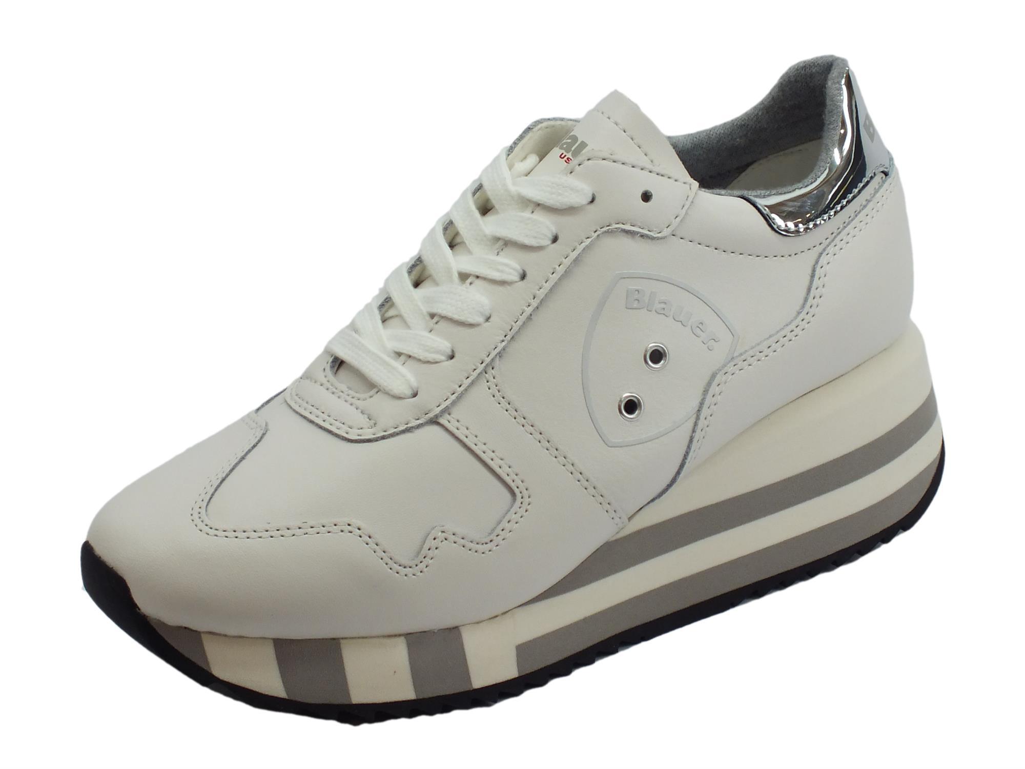 Sneakers Blauer USA donna pelle colore bianco zeppa alta - Vitiello ... 64aad196541