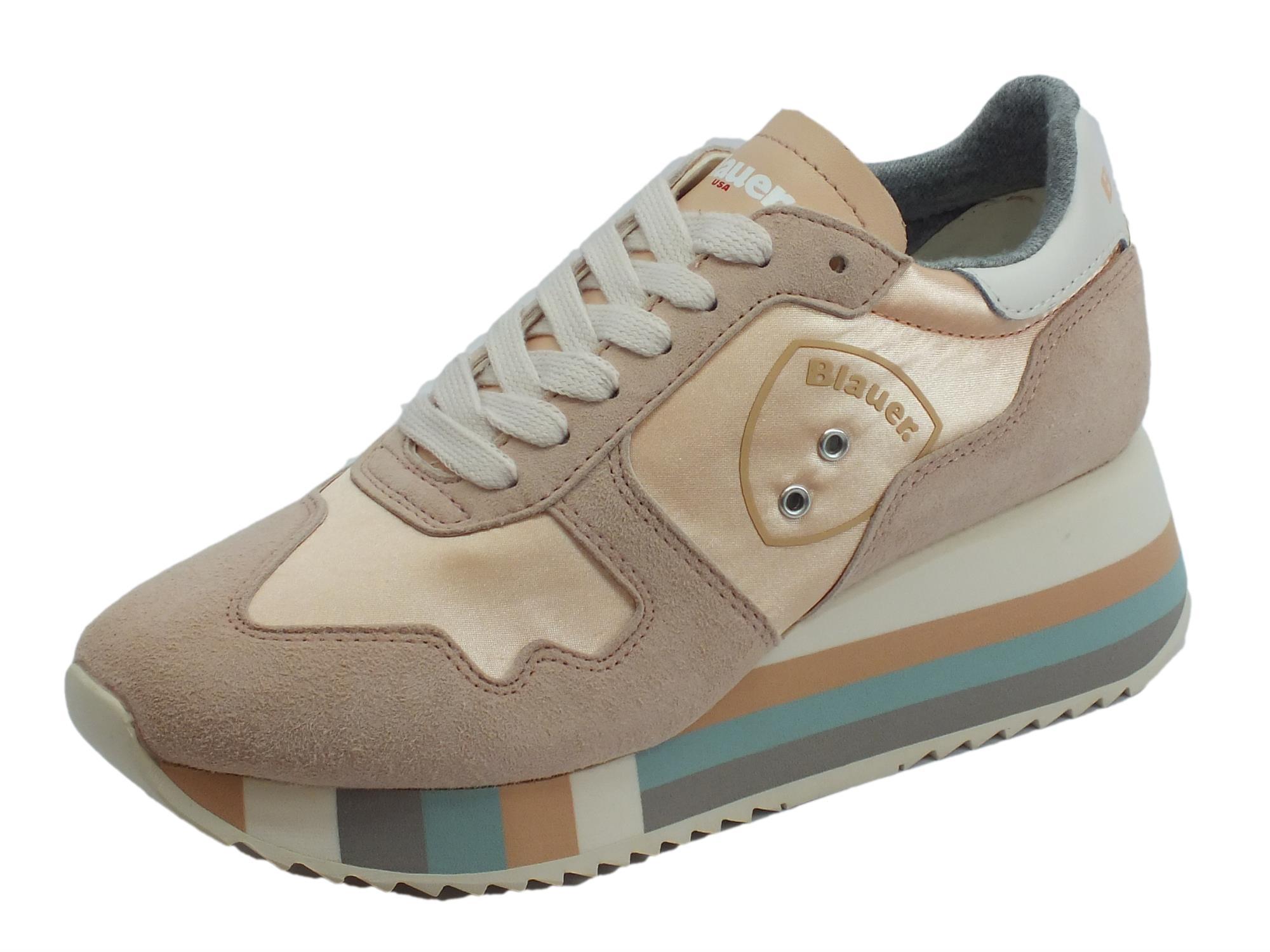 Sneakers Blauer USA per donna in camoscio e tessuto colore beige zeppa alta aa7ab2a7f50