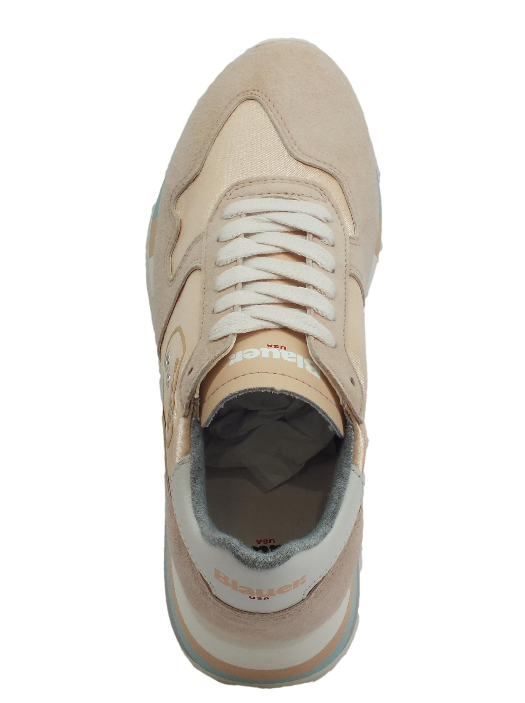 ... Sneakers Blauer USA per donna in camoscio e tessuto colore beige zeppa  alta 2d68f406e3b
