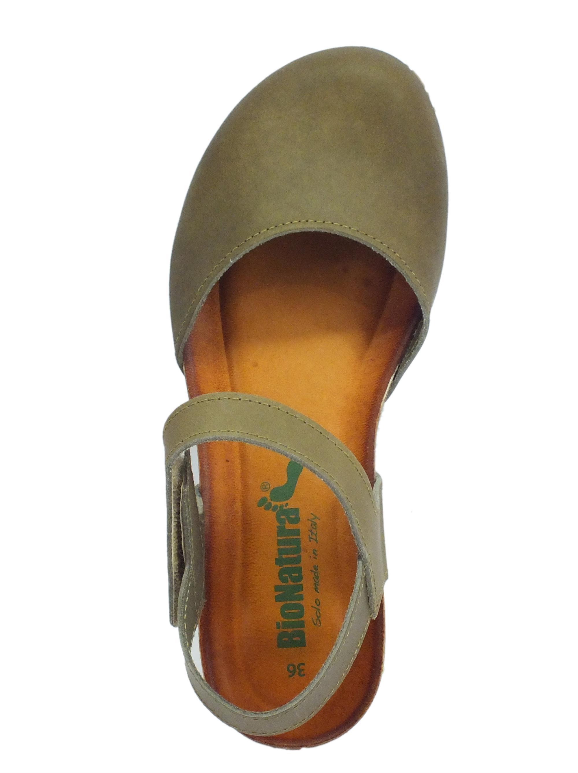 finest selection 25041 7c1b5 BioNatura 68 C 2081 IMB Pelle Gaucho Fango sandali chiusi in pelle zeppa  bassa
