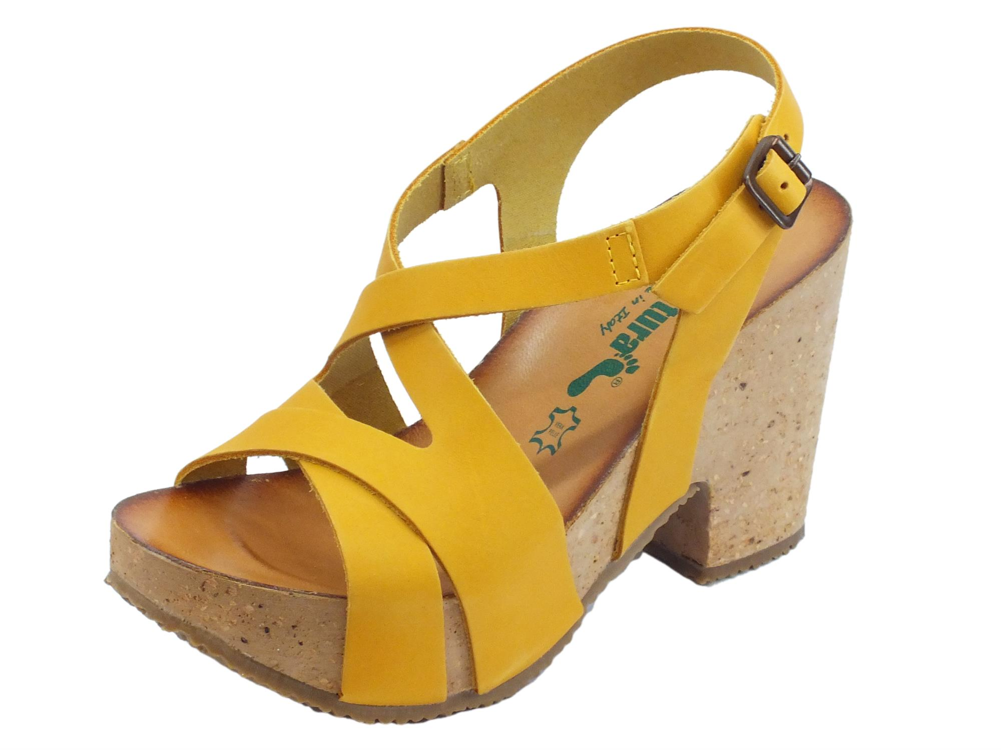 BioNatura 36 Rimini Pelle Gaucho Giallo sandali in nabuk incrociato tacco alto