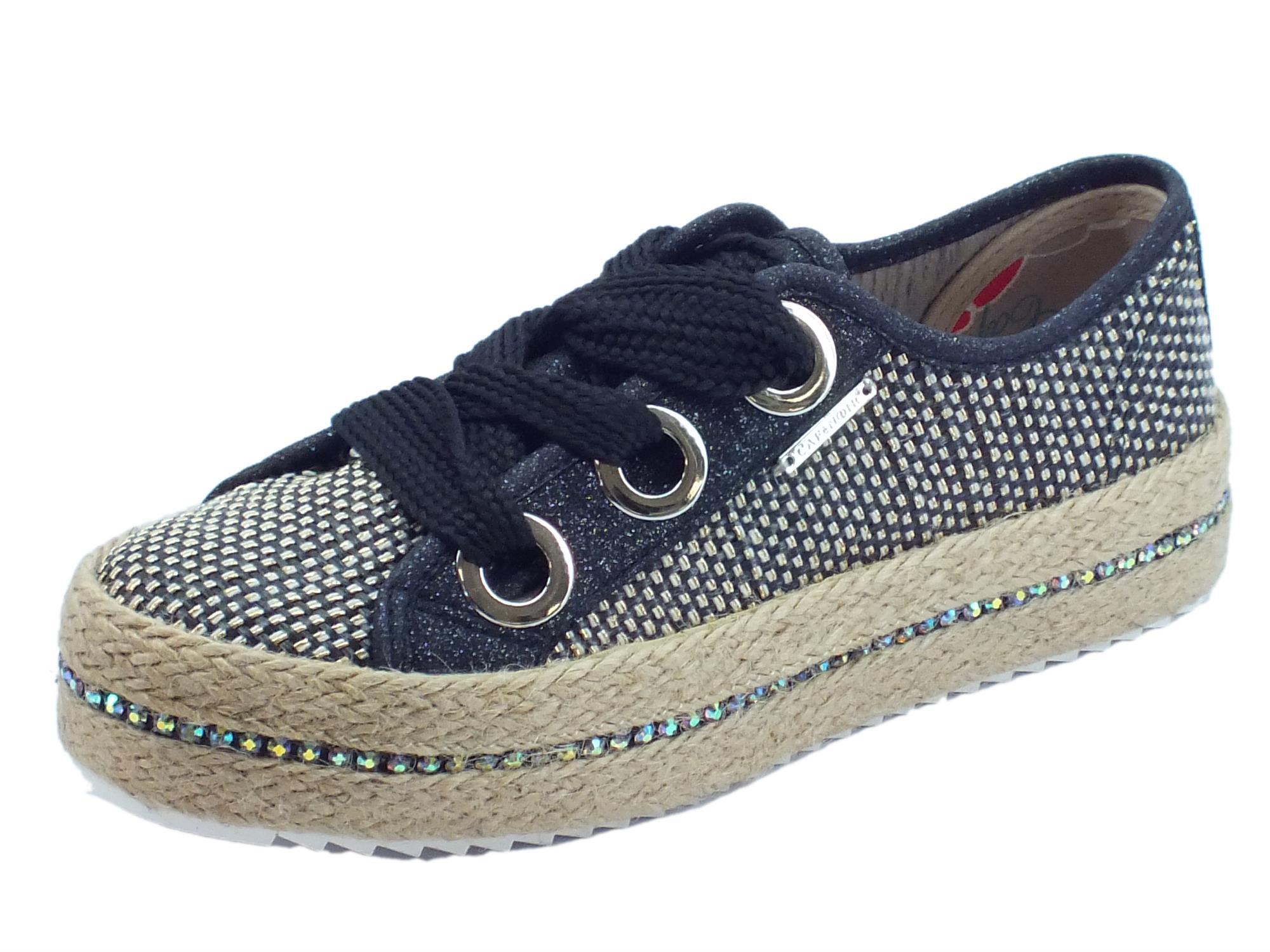 Sneakers CafèNoir in sintetico effetto tela nero oro brillantinato nero  zeppa in corda 8efe6ff0839