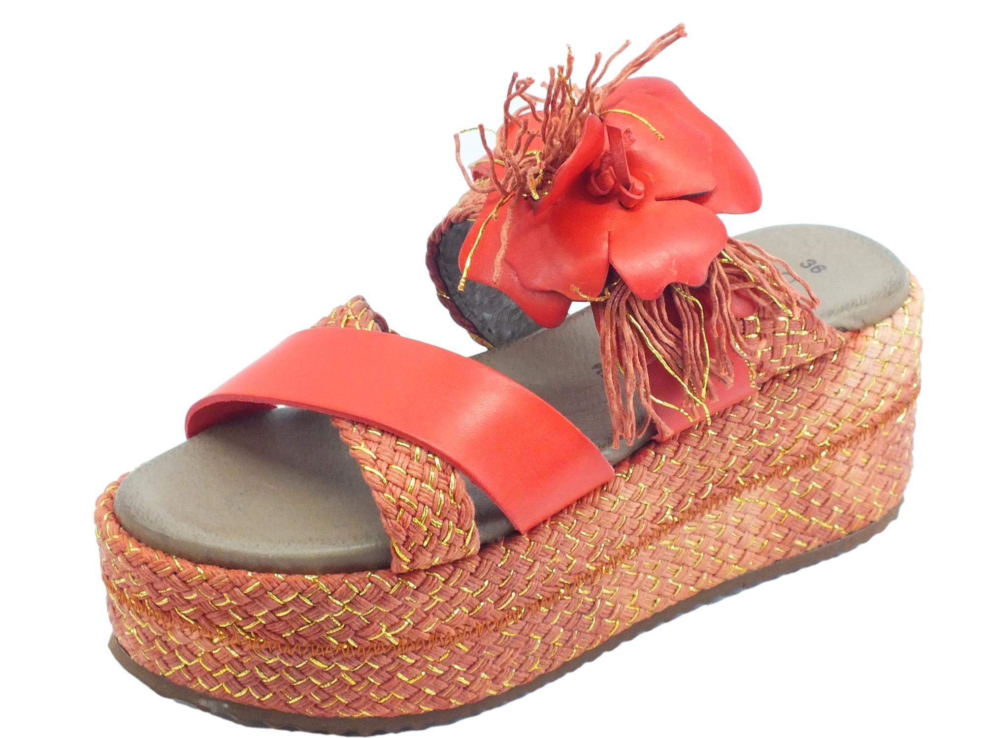 CafèNOIR sandali donna in pelle rossa con zeppa alta in corda rossa e oro