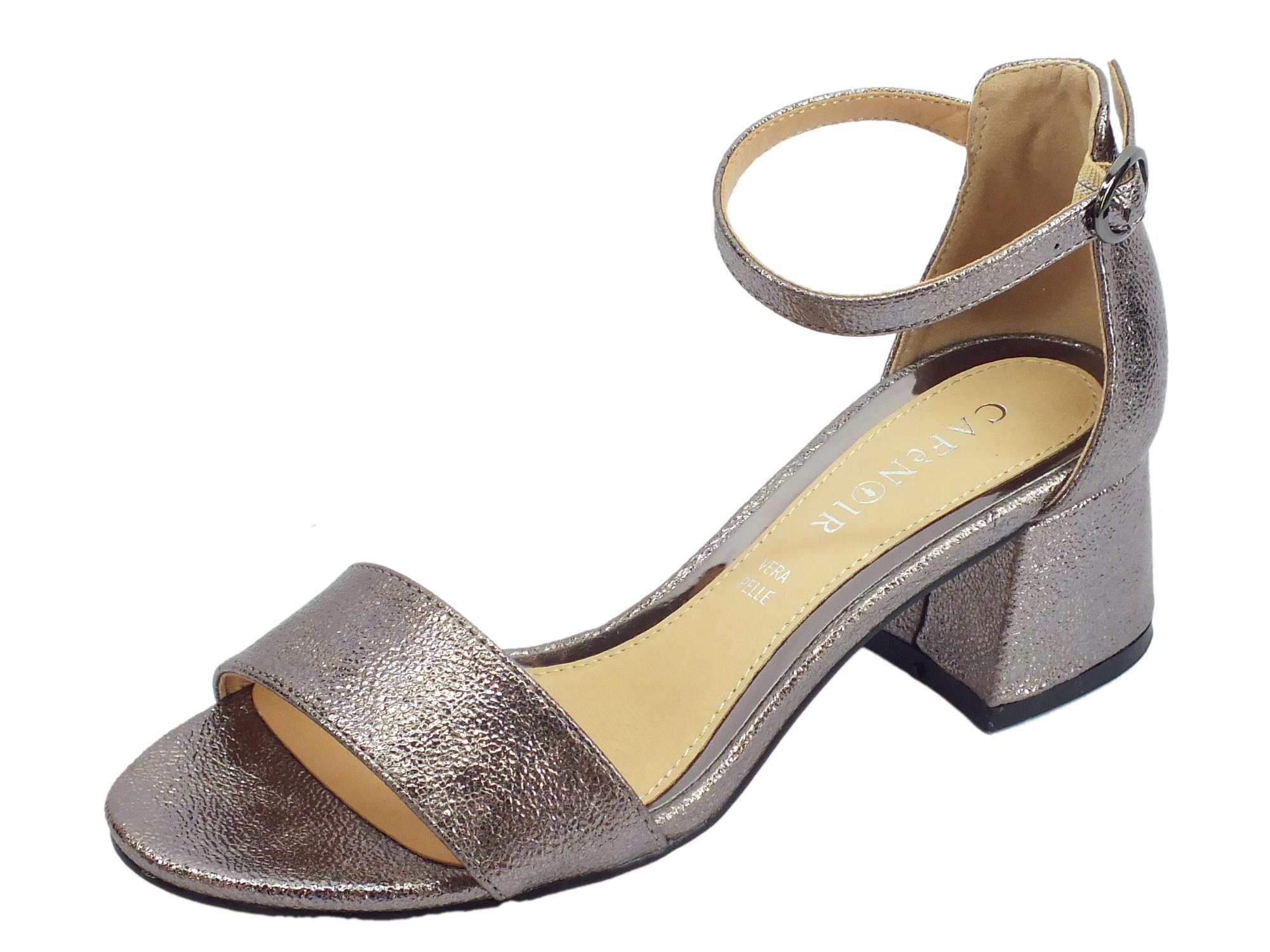 4971ddc1e17f6 CafèNOIR sandali donna in pelle martellata colore peltro tacco medio