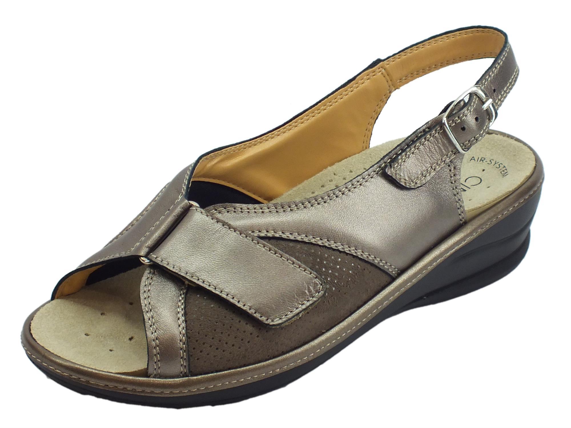 47dd770e2fcef Cinzia Soft sandali comodi in pelle e scamosciato perla fondo antiscivolo