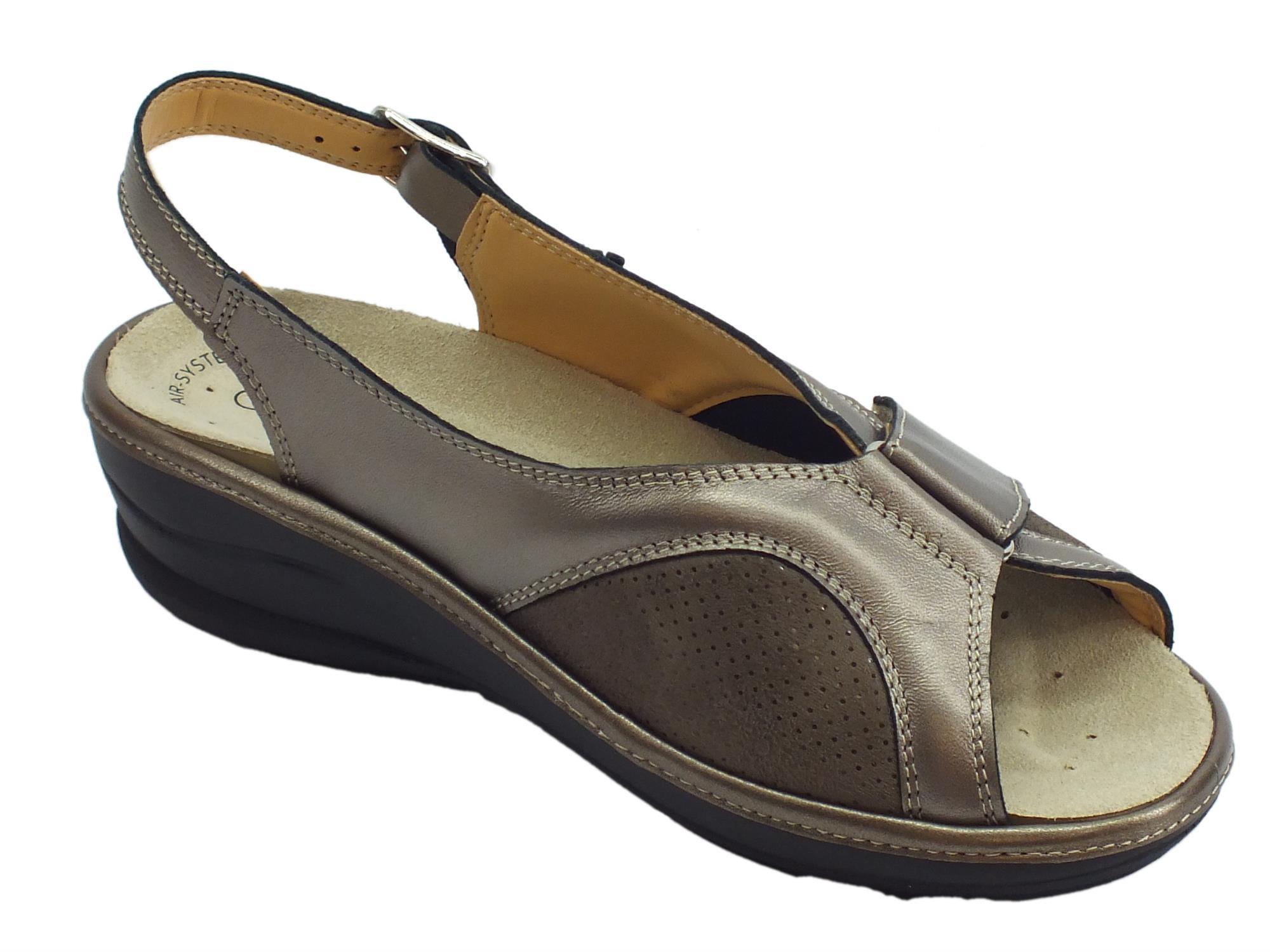 3e2501cebc38c ... Cinzia Soft sandali comodi in pelle e scamosciato perla fondo  antiscivolo ...