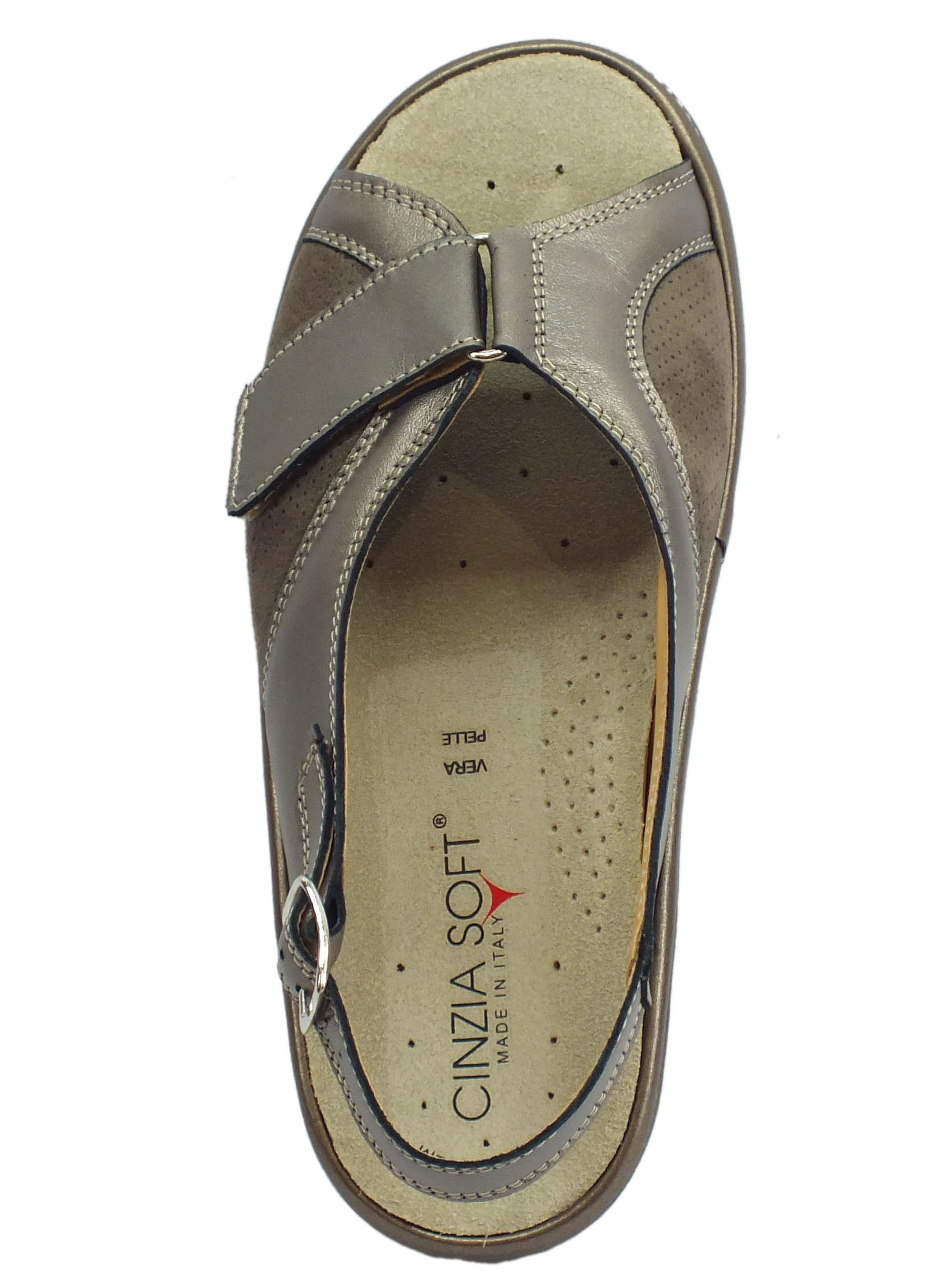 1d3ca4bbcb51e ... Cinzia Soft sandali comodi in pelle e scamosciato perla fondo  antiscivolo