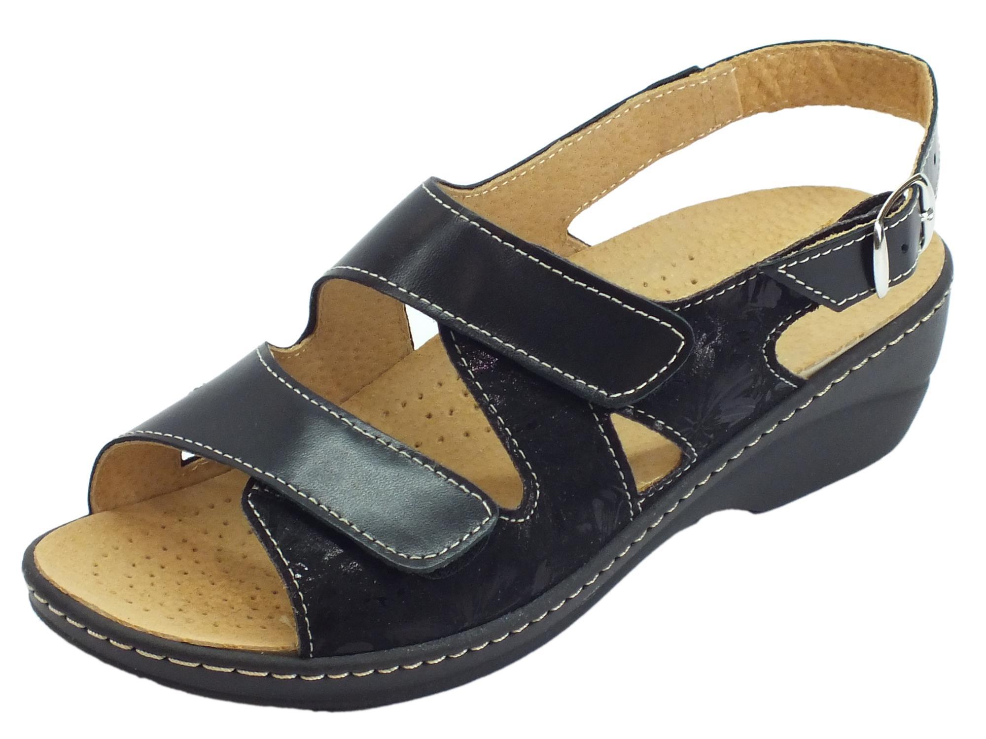 1263378c2c0b9 Cinzia Soft sandali linea comoda pelle e tessuto nero doppio stretch  sottopiede pelle