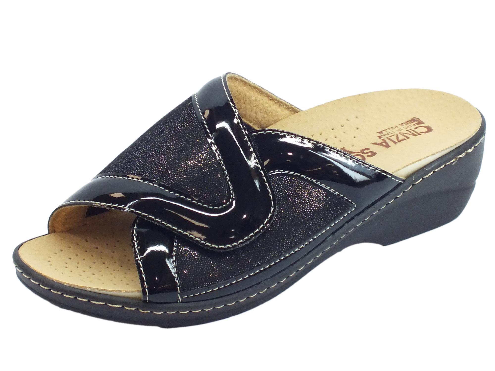 8cb0254eea5ef Cinzia Soft sandali linea comoda vernice tessuto nero sottopiede pelle  estraibile