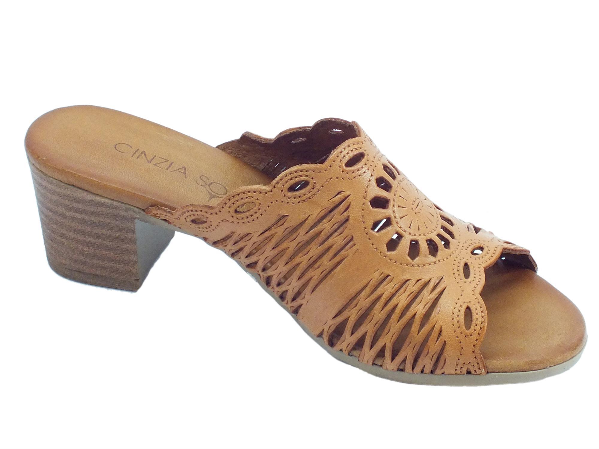 28e5ca5d8c66a ... Cinzia Soft sandali scalsati per donna in pelle laserata colore  tanganica tacco medio ...