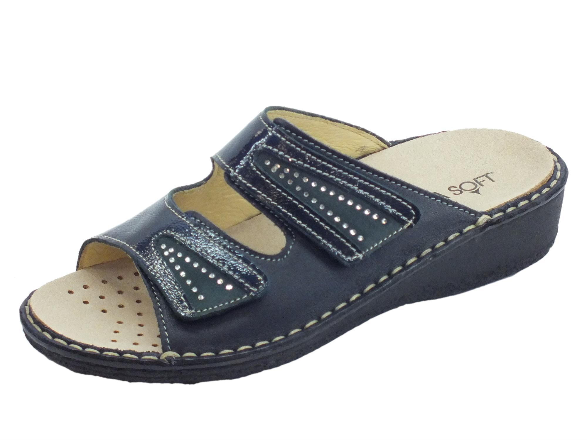 acdb8cd4e2502 Sandali linea comoda Cinzia Soft pelle blu con doppio stretch sottopiede  pelle
