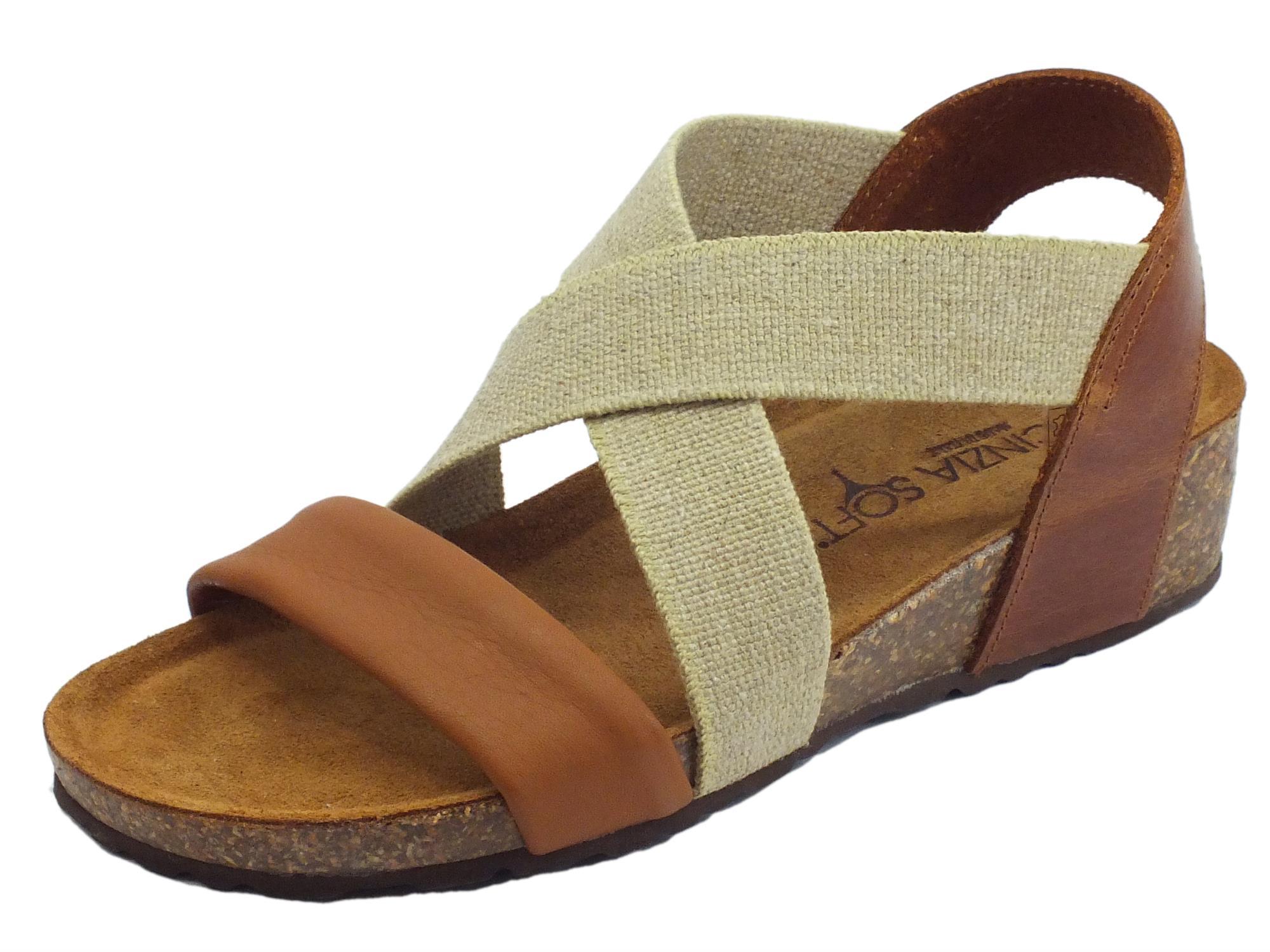 buona qualità cerca l'autorizzazione stili di moda Cinzia Soft sandali in pelle cognac e cuoio calzata con elastico estetico