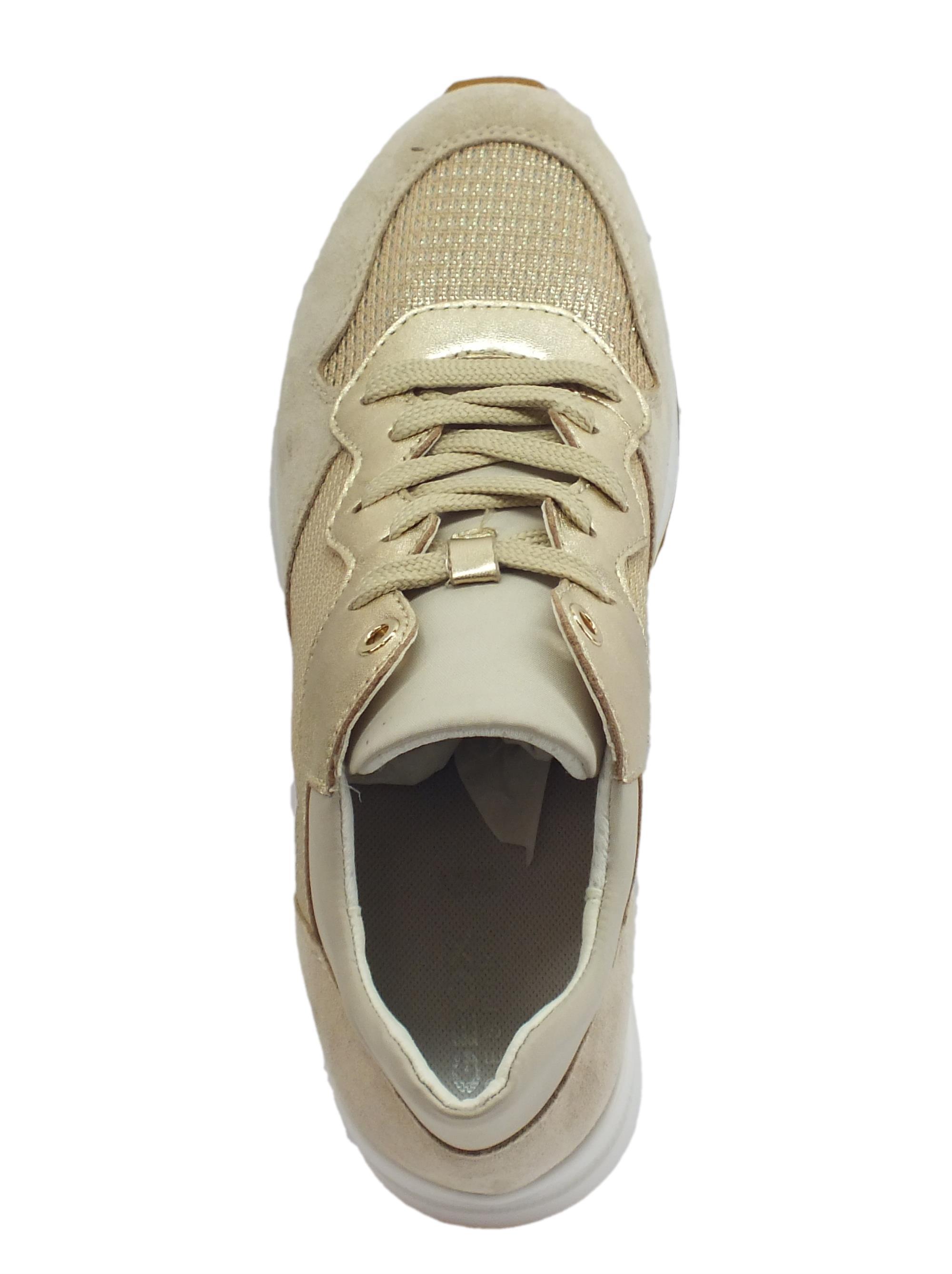 0f99365d45 Geox D Zosma sneakers donna in vernice camoscio e tessuto champagne taupe  zeppa alta