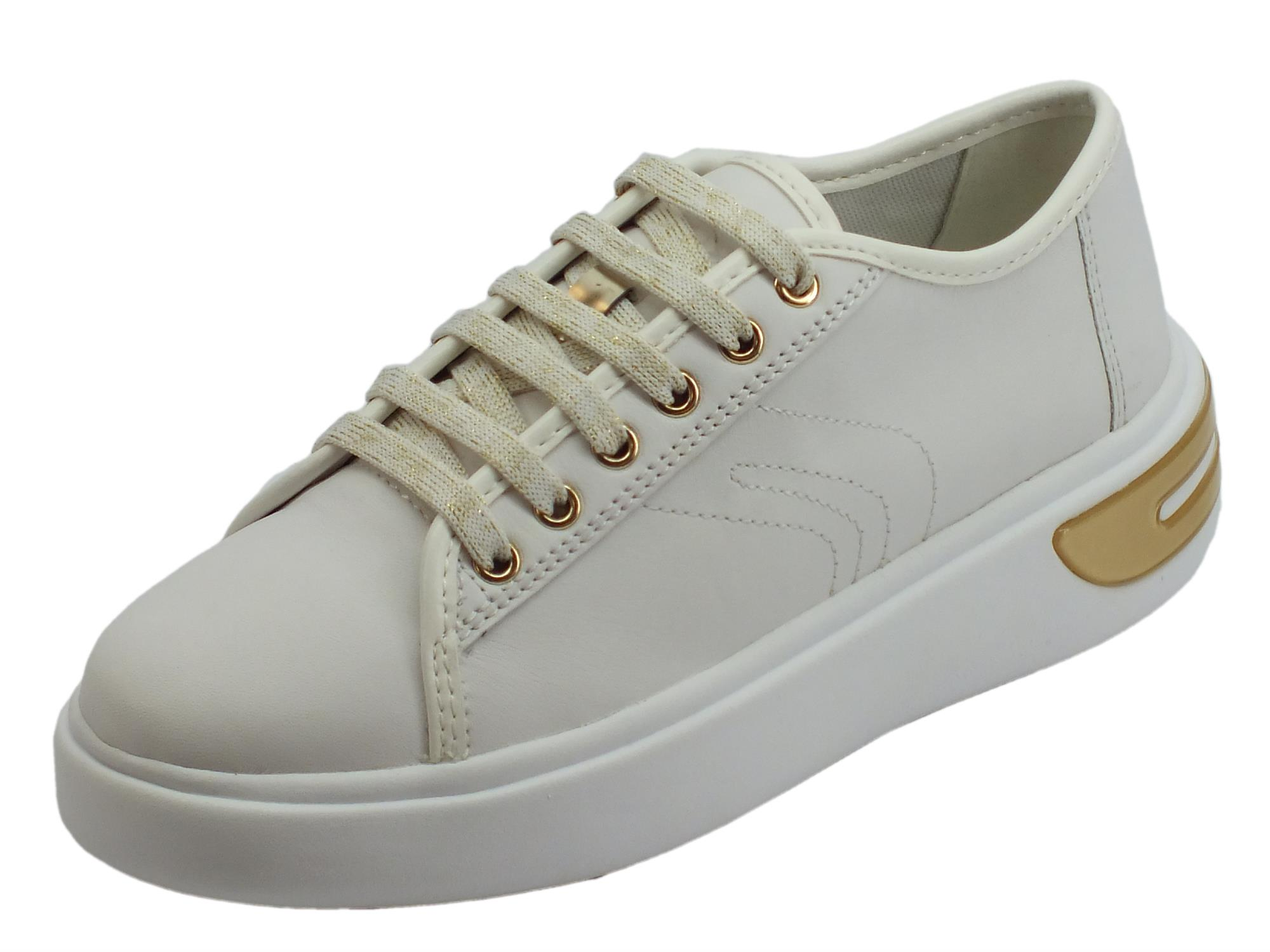 Geox D Ottaya sneakers sportive donna in nappa bianca zeppa bassa bombata
