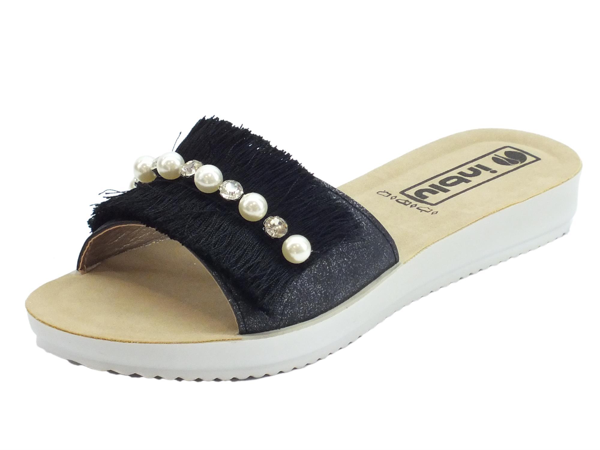 dafa9f1384 InBlu ciabatte per donna InBlu con frangie nere, perle e brillantini